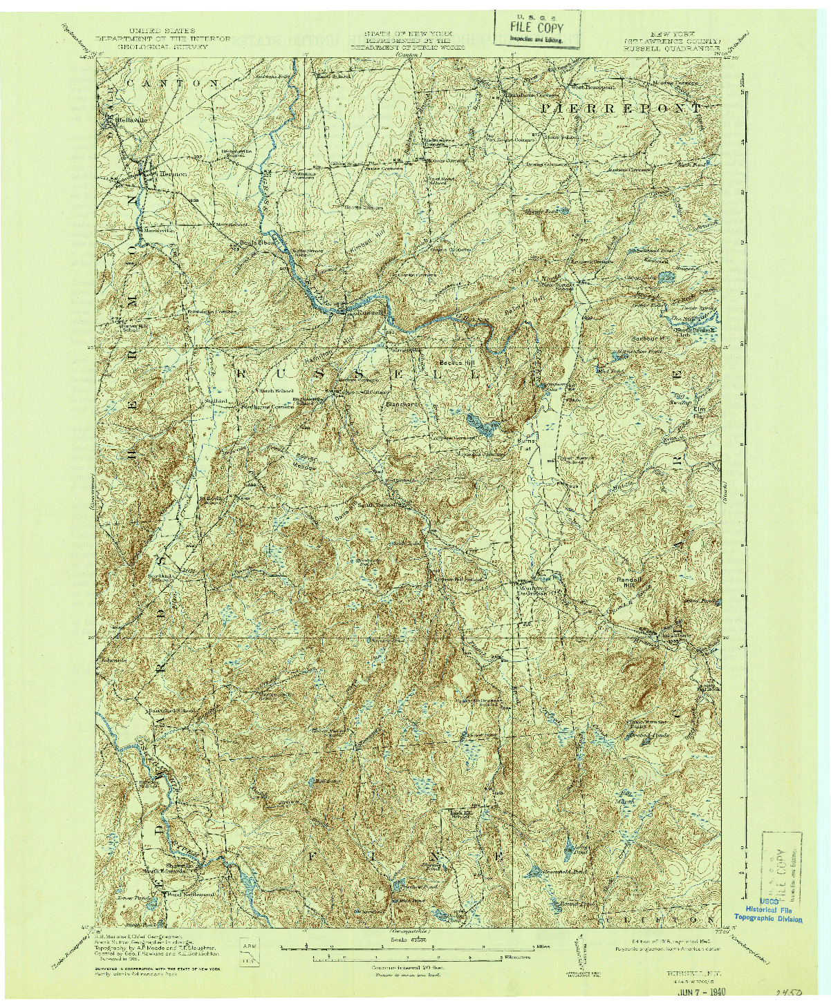 USGS 1:62500-SCALE QUADRANGLE FOR RUSSELL, NY 1918