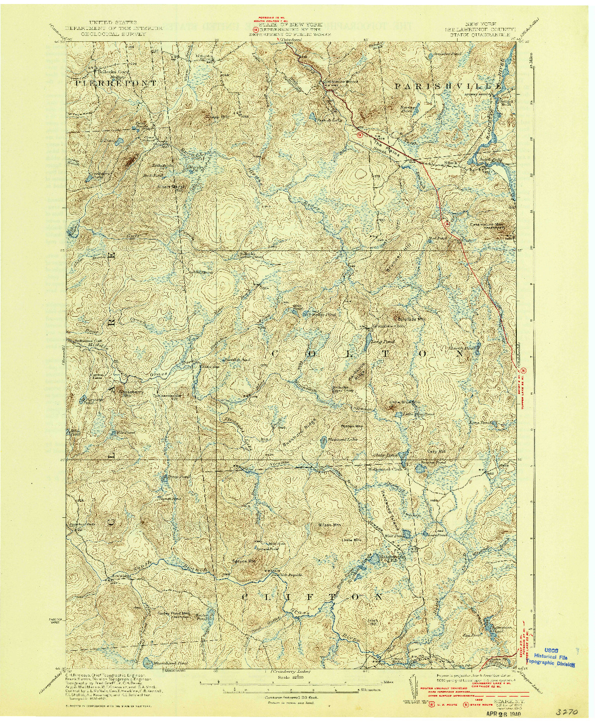 USGS 1:62500-SCALE QUADRANGLE FOR STARK, NY 1940