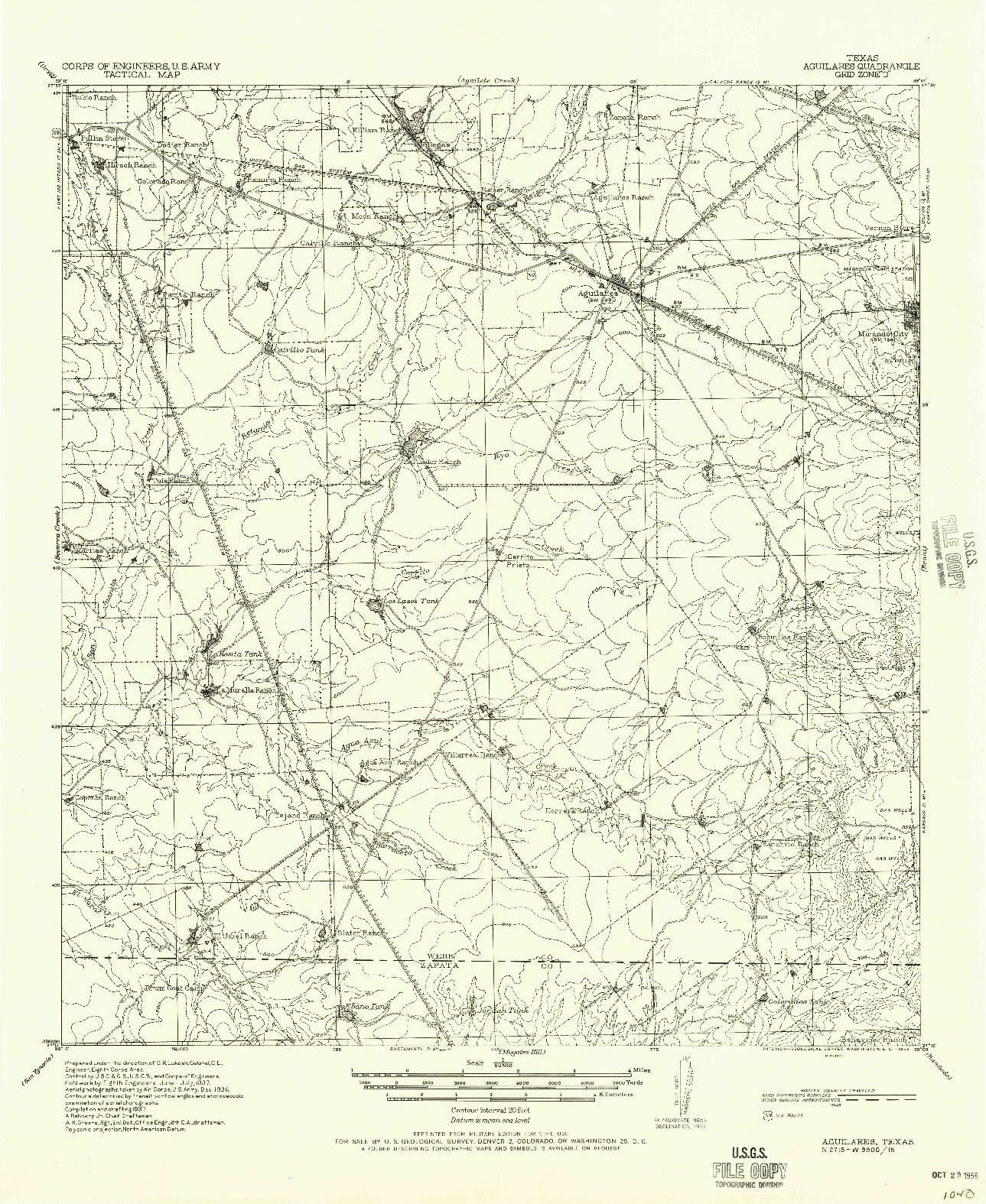 USGS 1:62500-SCALE QUADRANGLE FOR AGUILARES, TX 1940