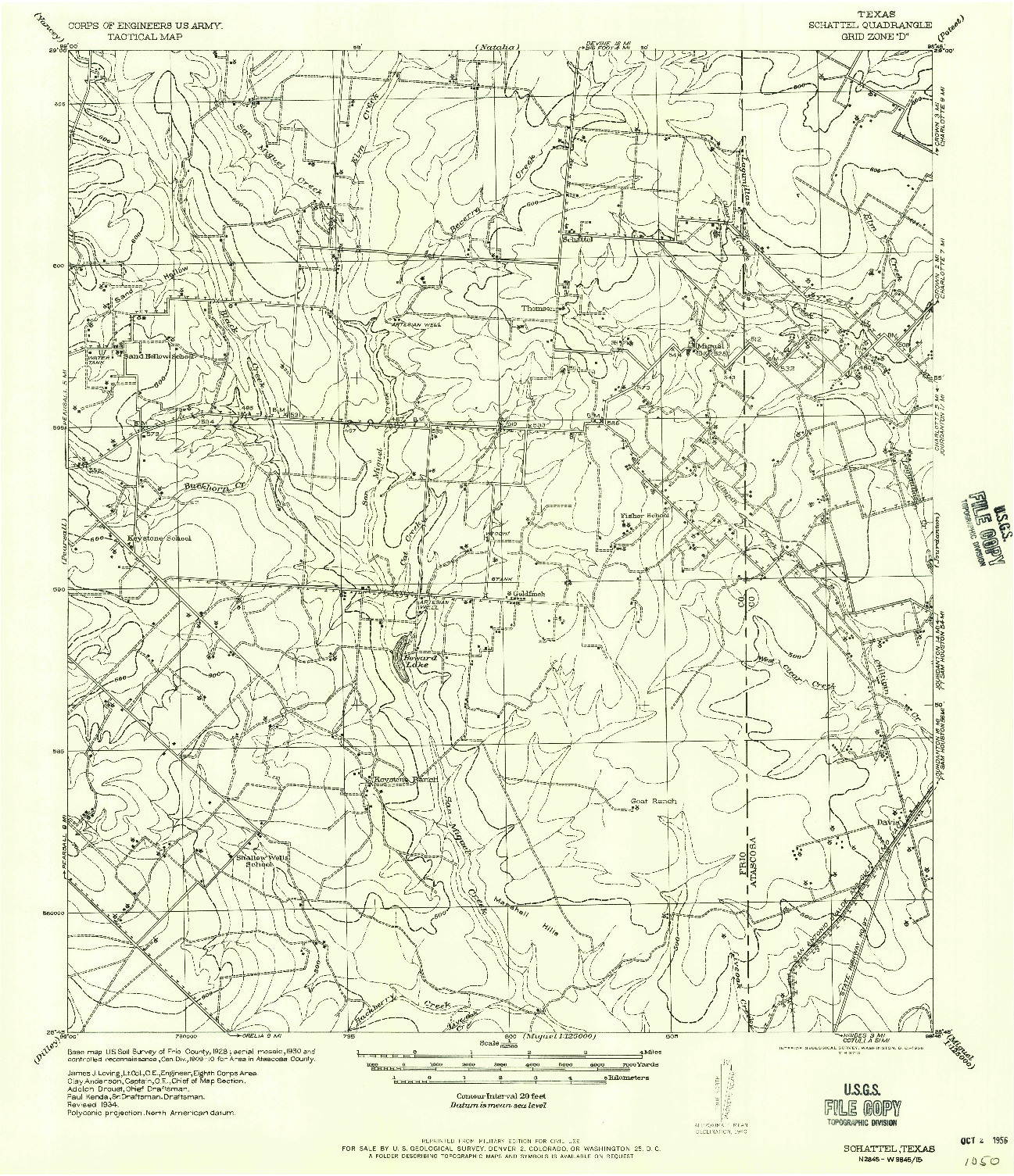 USGS 1:62500-SCALE QUADRANGLE FOR SCHATTEL, TX 1934