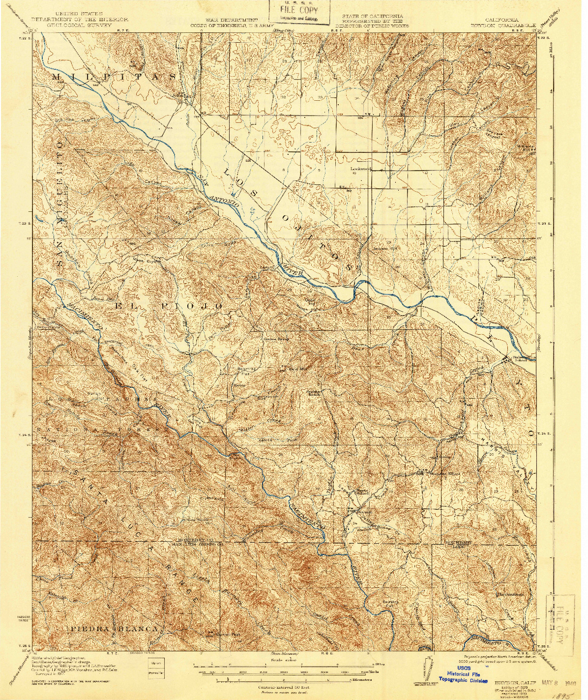 USGS 1:62500-SCALE QUADRANGLE FOR BRYSON, CA 1919