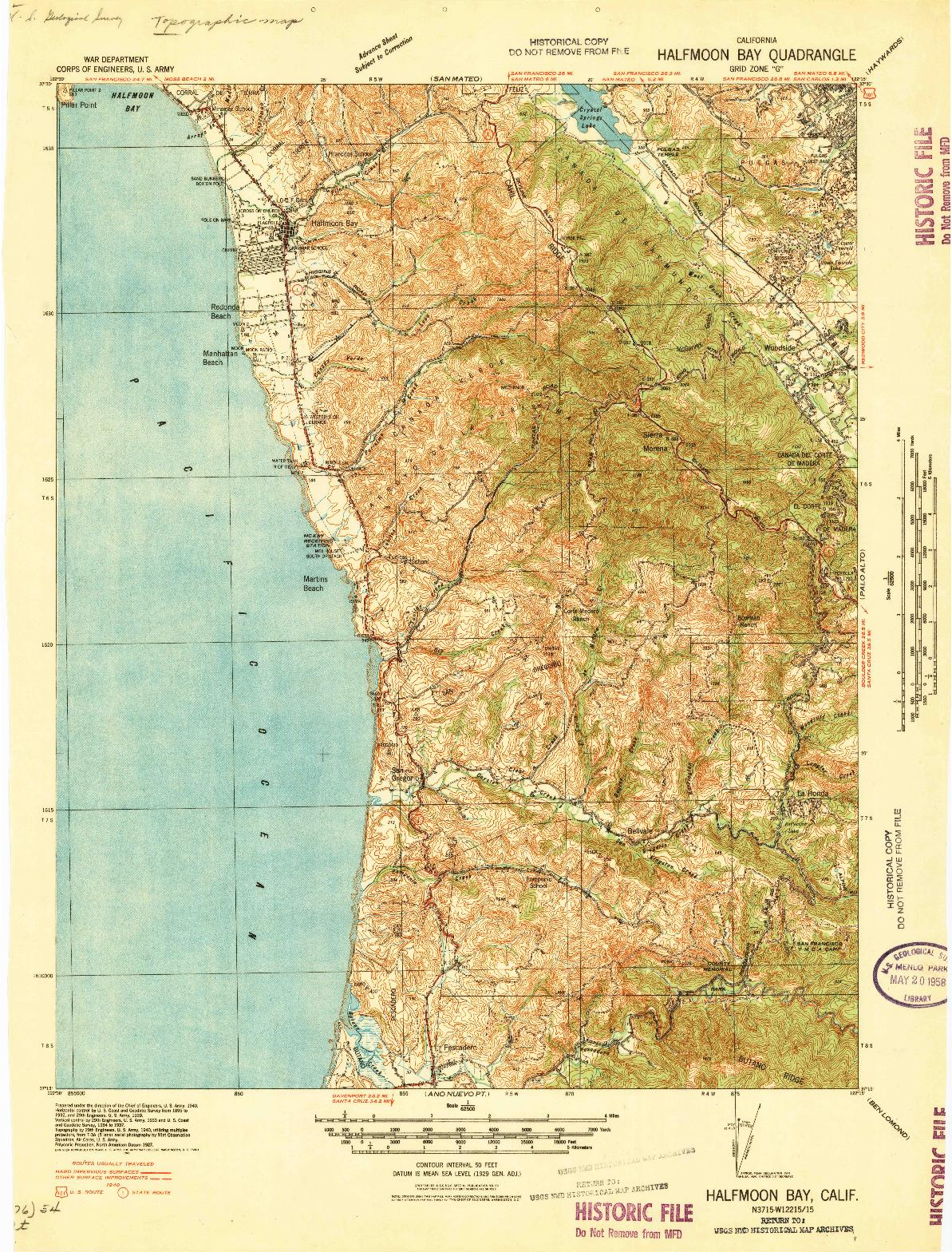 USGS 1:62500-SCALE QUADRANGLE FOR HALFMOON BAY, CA 1940