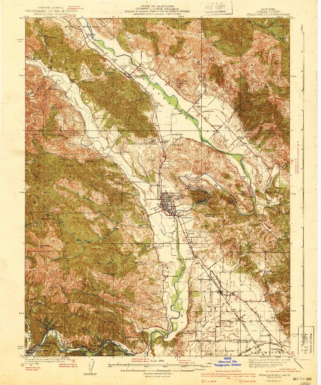USGS 1:62500-SCALE QUADRANGLE FOR HEALDSBURG, CA 1940