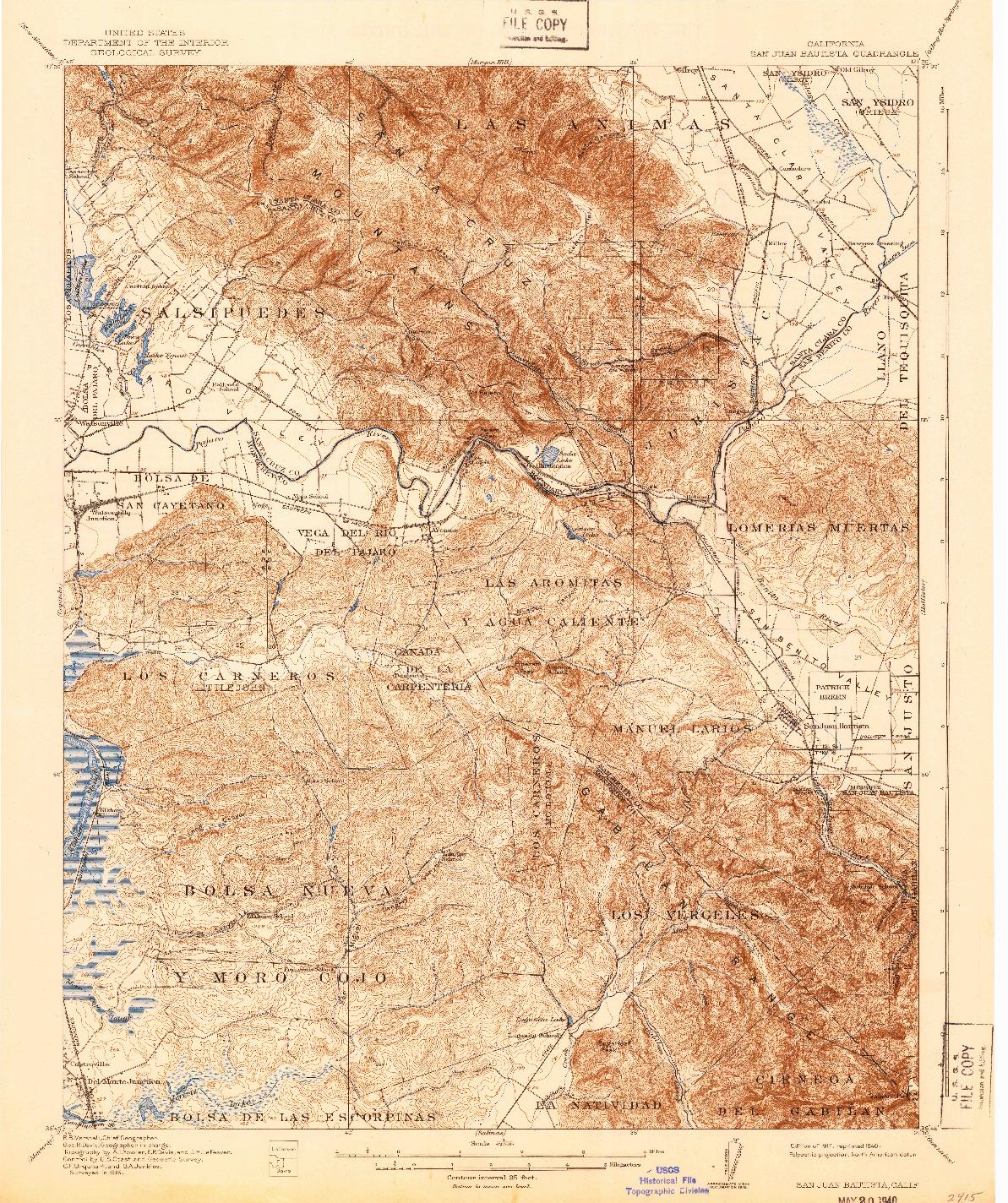 USGS 1:62500-SCALE QUADRANGLE FOR SAN JUAN BAUTISTA, CA 1917