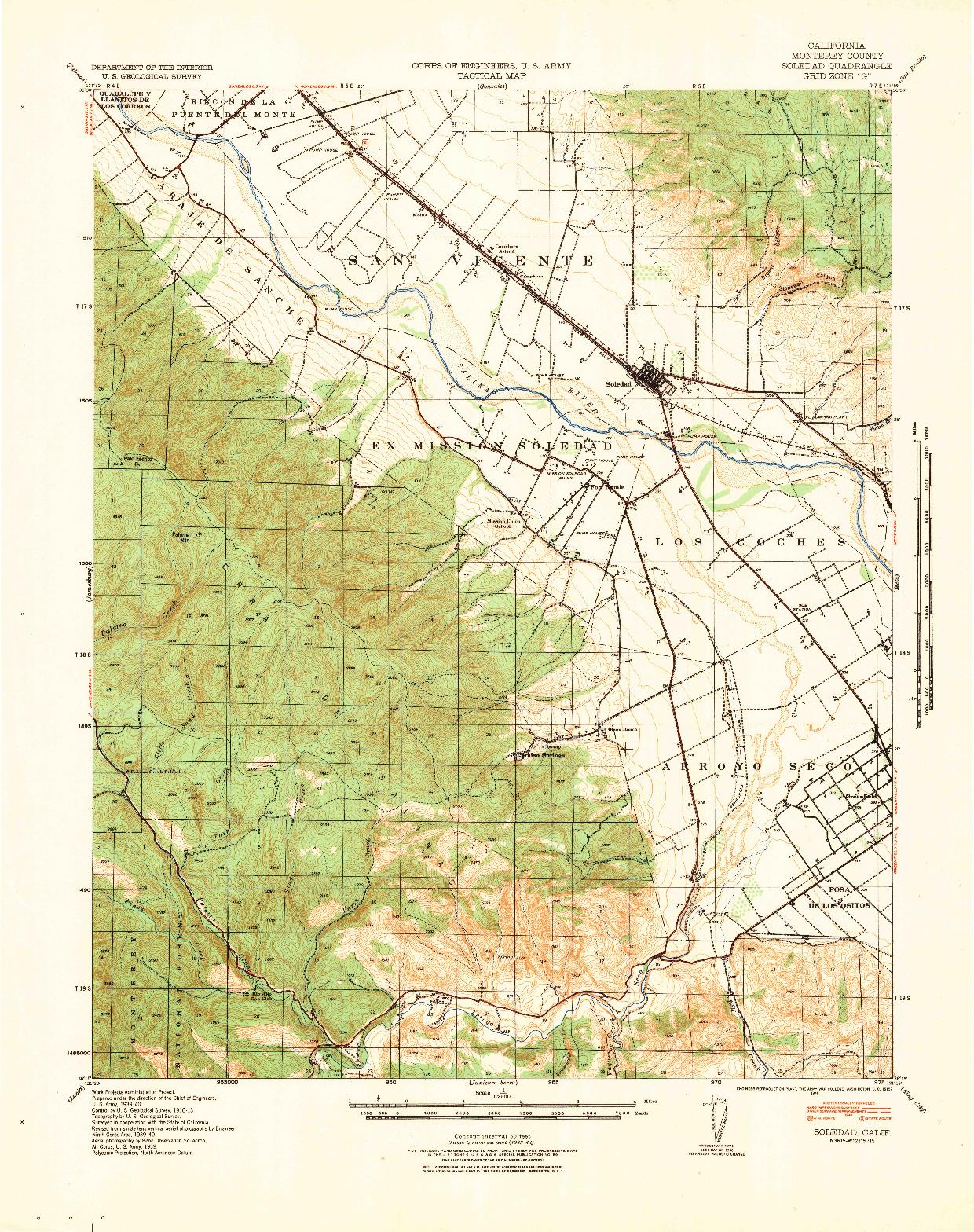 USGS 1:62500-SCALE QUADRANGLE FOR SOLEDAD, CA 1940
