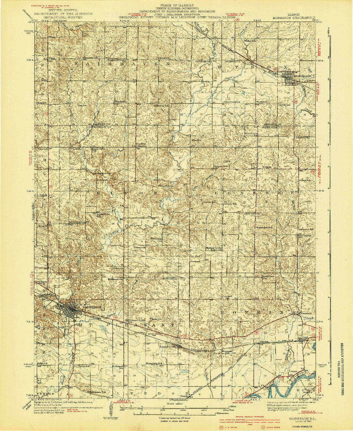 USGS 1:62500-SCALE QUADRANGLE FOR MORRISON, IL 1940