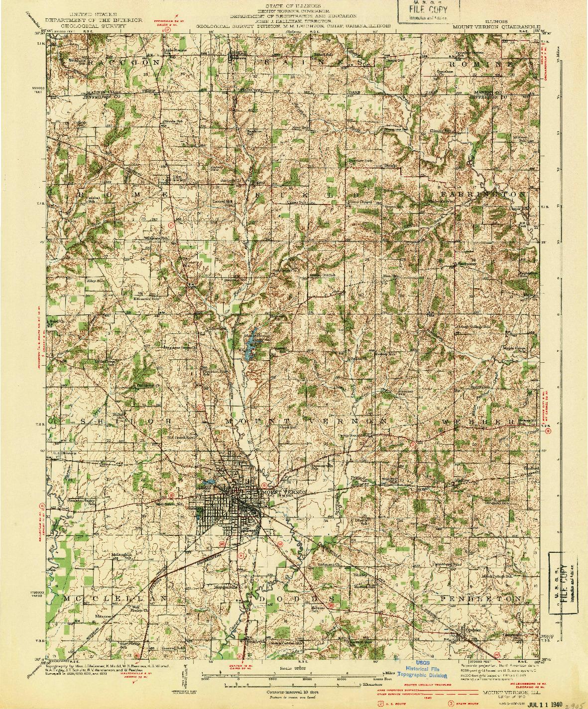 USGS 1:62500-SCALE QUADRANGLE FOR MOUNT VERNON, IL 1940
