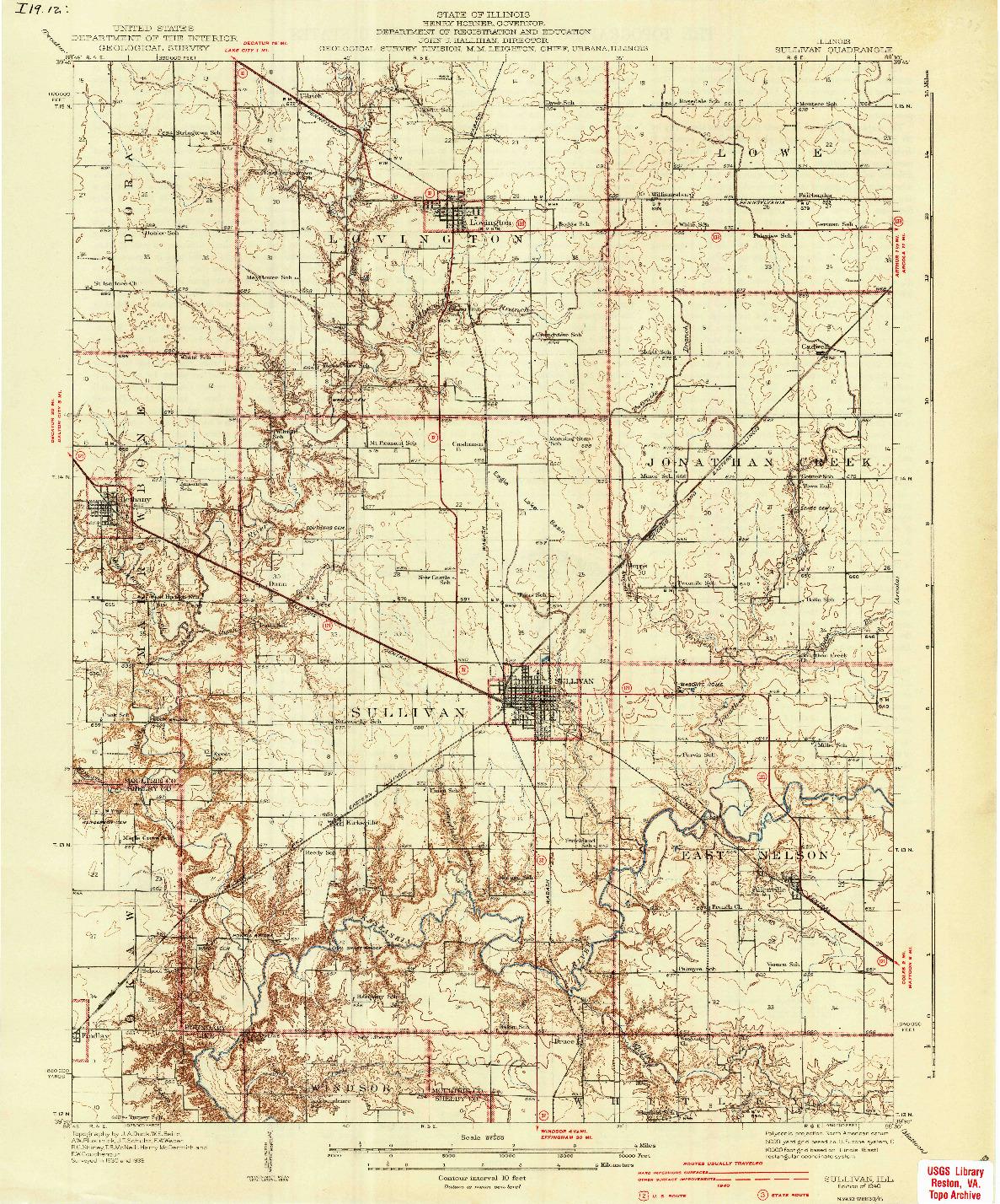 USGS 1:62500-SCALE QUADRANGLE FOR SULLIVAN, IL 1940