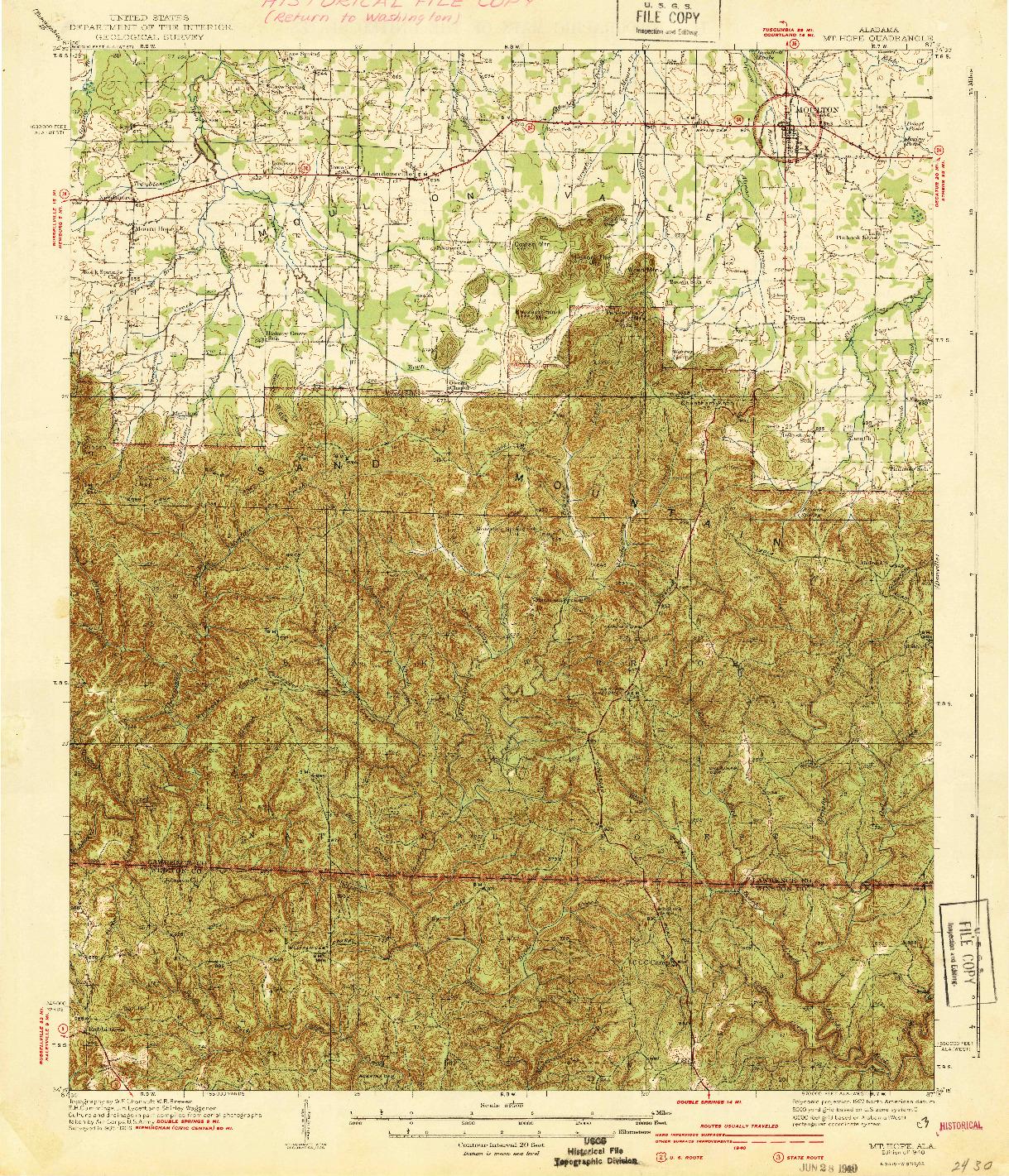 USGS 1:62500-SCALE QUADRANGLE FOR MT HOPE, AL 1940