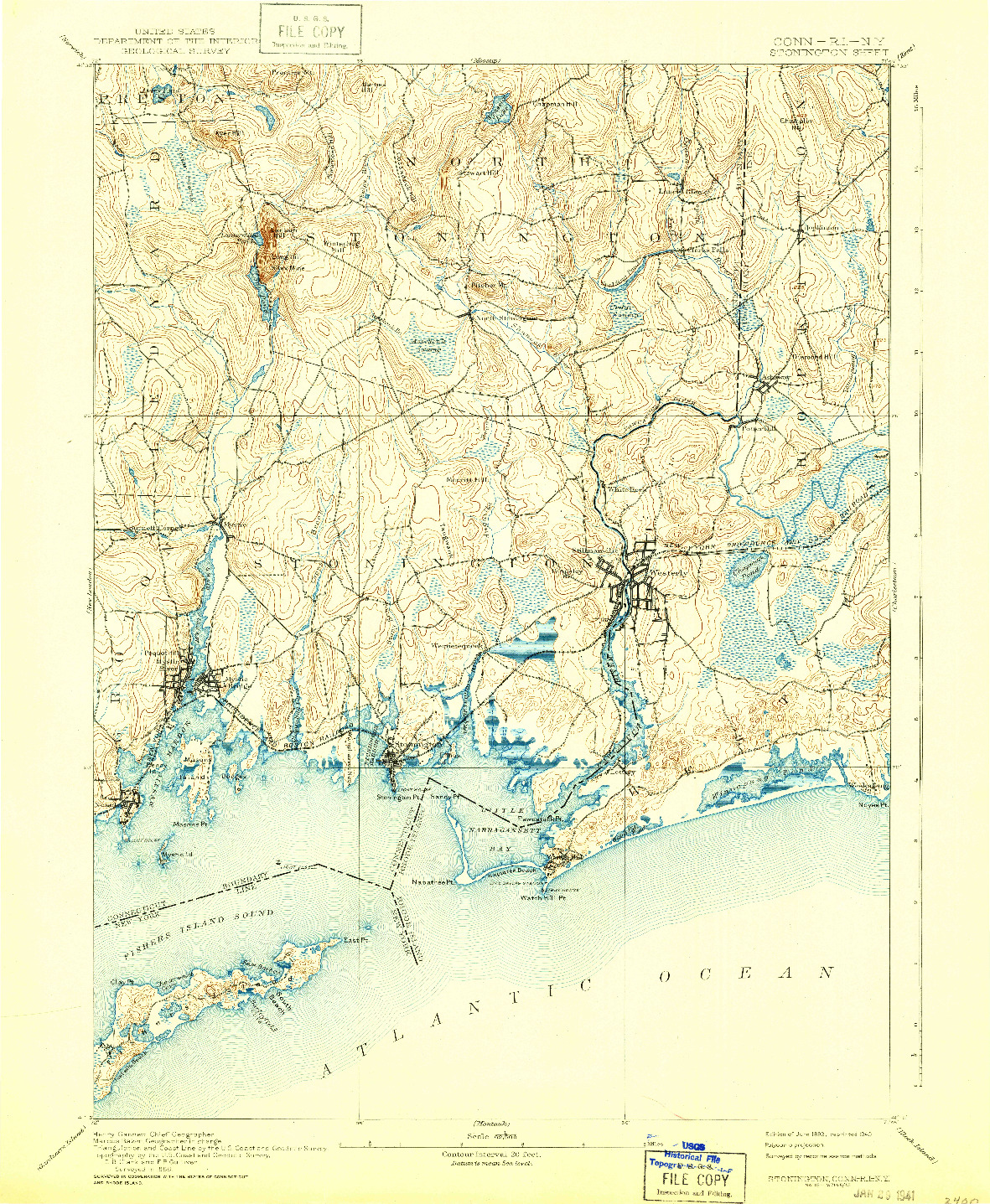 USGS 1:62500-SCALE QUADRANGLE FOR STONINGTON, CT 1893