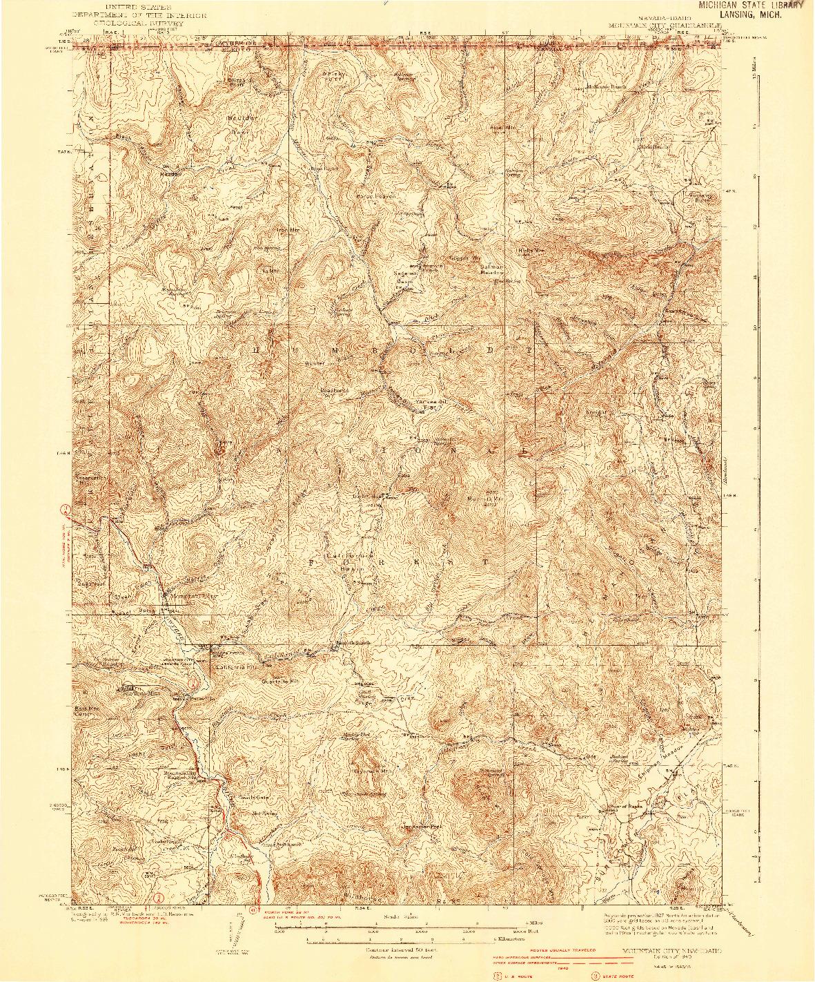 USGS 1:62500-SCALE QUADRANGLE FOR MOUNTAIN CITY, NV 1940