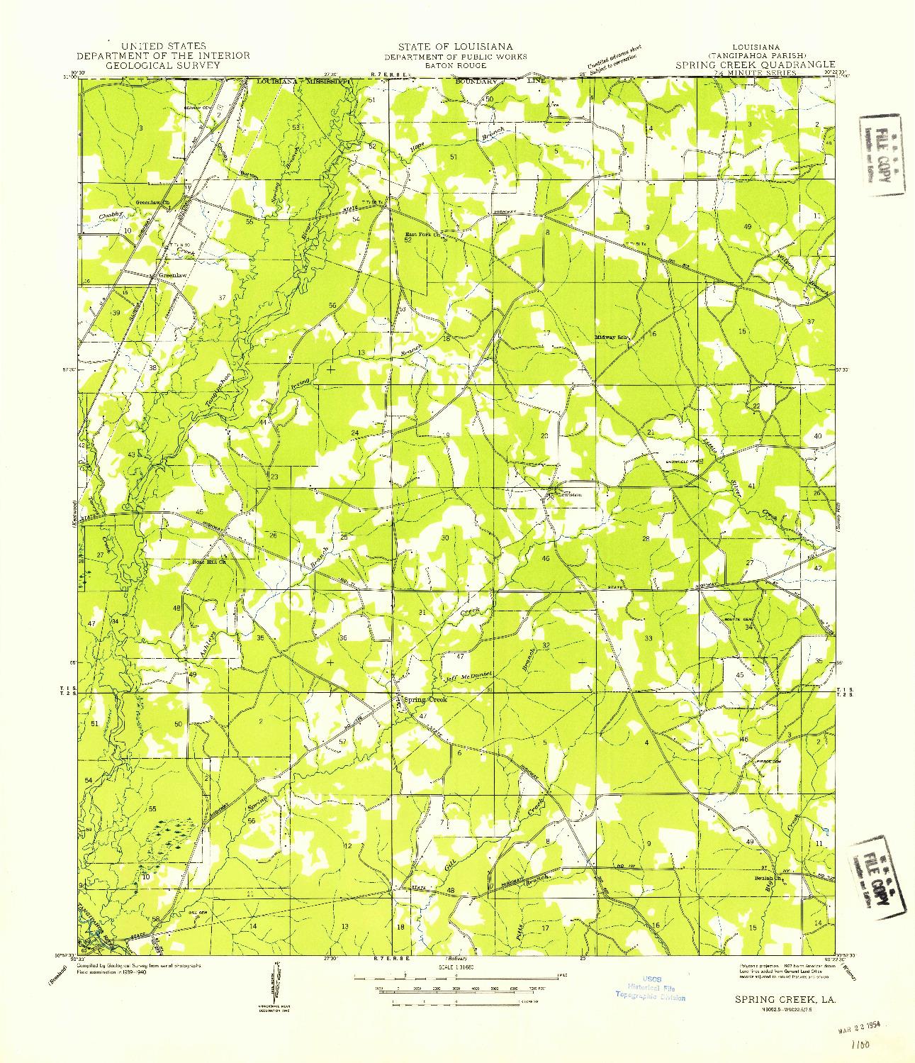 USGS 1:31680-SCALE QUADRANGLE FOR SPRING CREEK, LA 1940