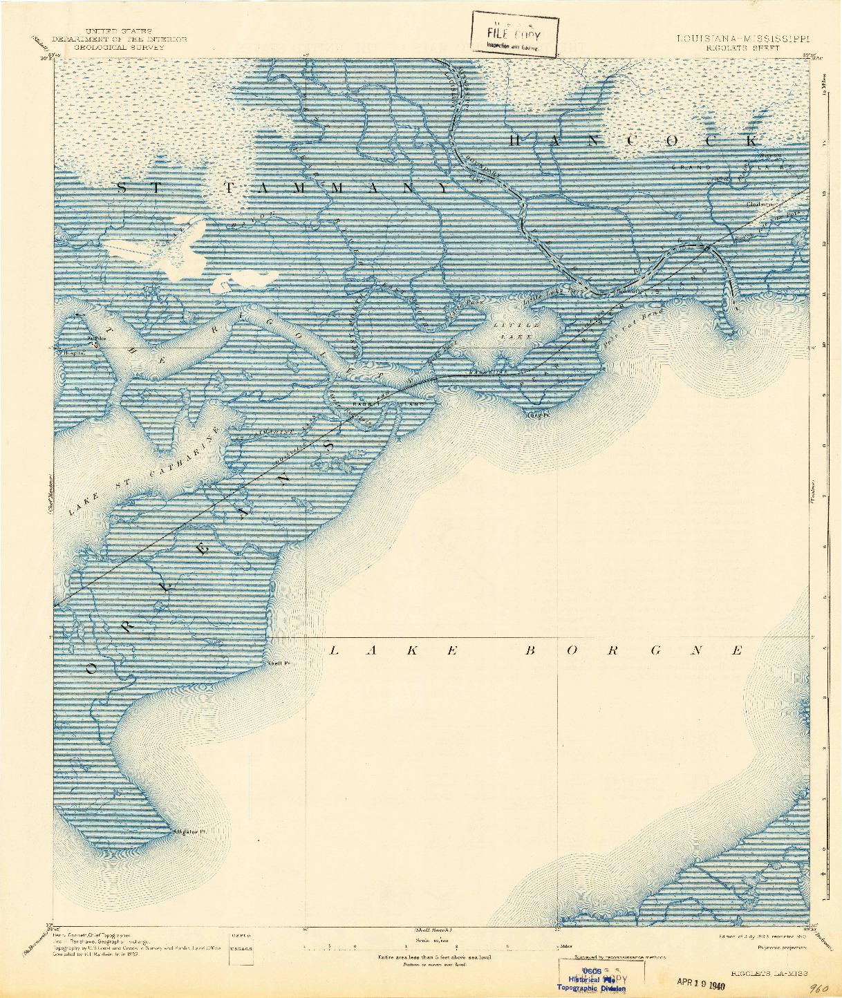 USGS 1:62500-SCALE QUADRANGLE FOR RIGOLETS, LA 1893