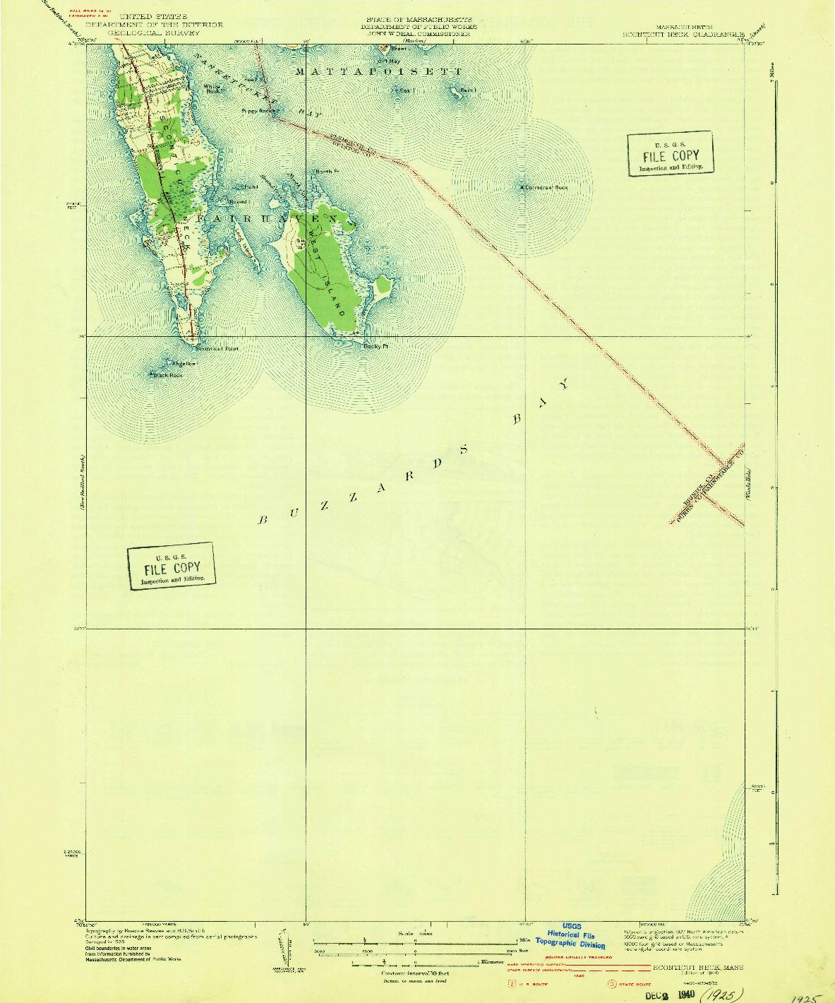 USGS 1:31680-SCALE QUADRANGLE FOR SCONTICUT NECK, MA 1940
