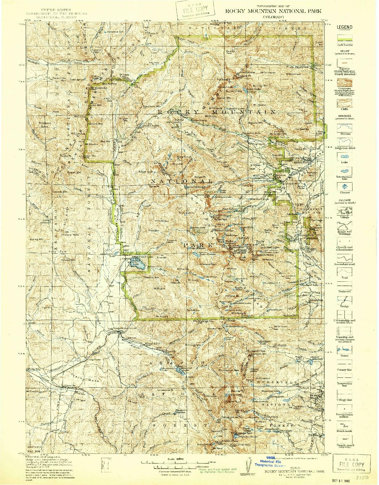 USGS 1:125000-SCALE QUADRANGLE FOR ROCKY MOUNTAIN NATIONAL PARK, CO 1919