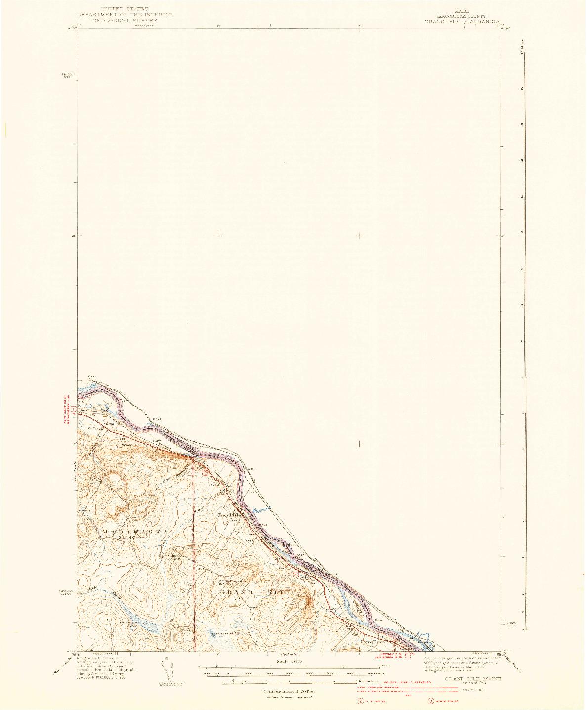 USGS 1:62500-SCALE QUADRANGLE FOR GRAND ISLE, ME 1940