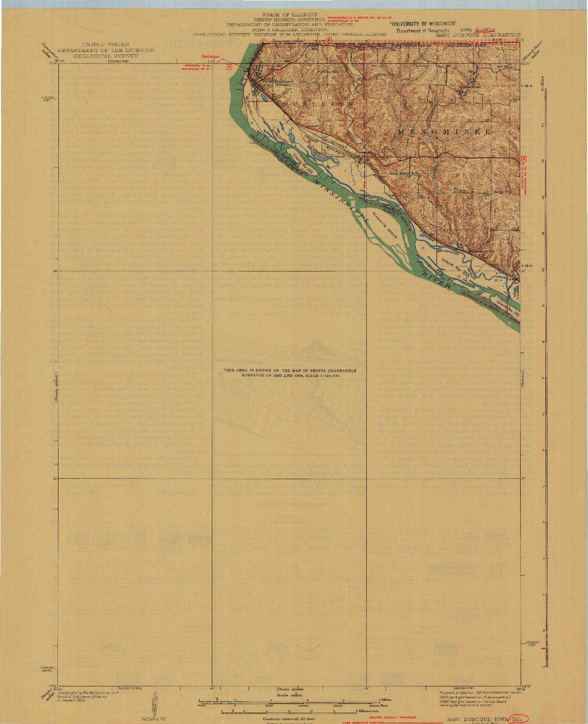 USGS 1:62500-SCALE QUADRANGLE FOR EAST DUBUQUE, IA 1940