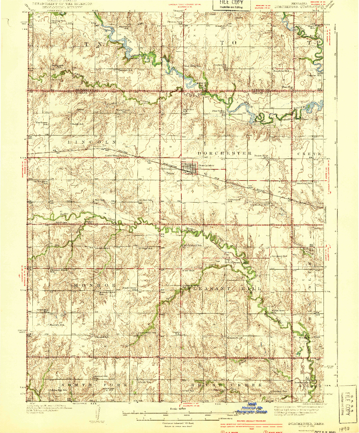 USGS 1:62500-SCALE QUADRANGLE FOR DORCHESTER, NE 1940