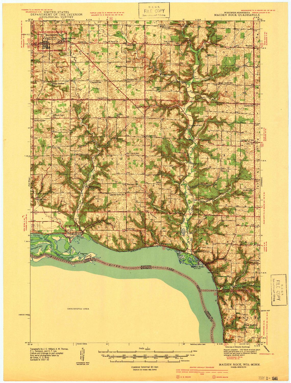 USGS 1:62500-SCALE QUADRANGLE FOR MAIDEN ROCK, WI 1940