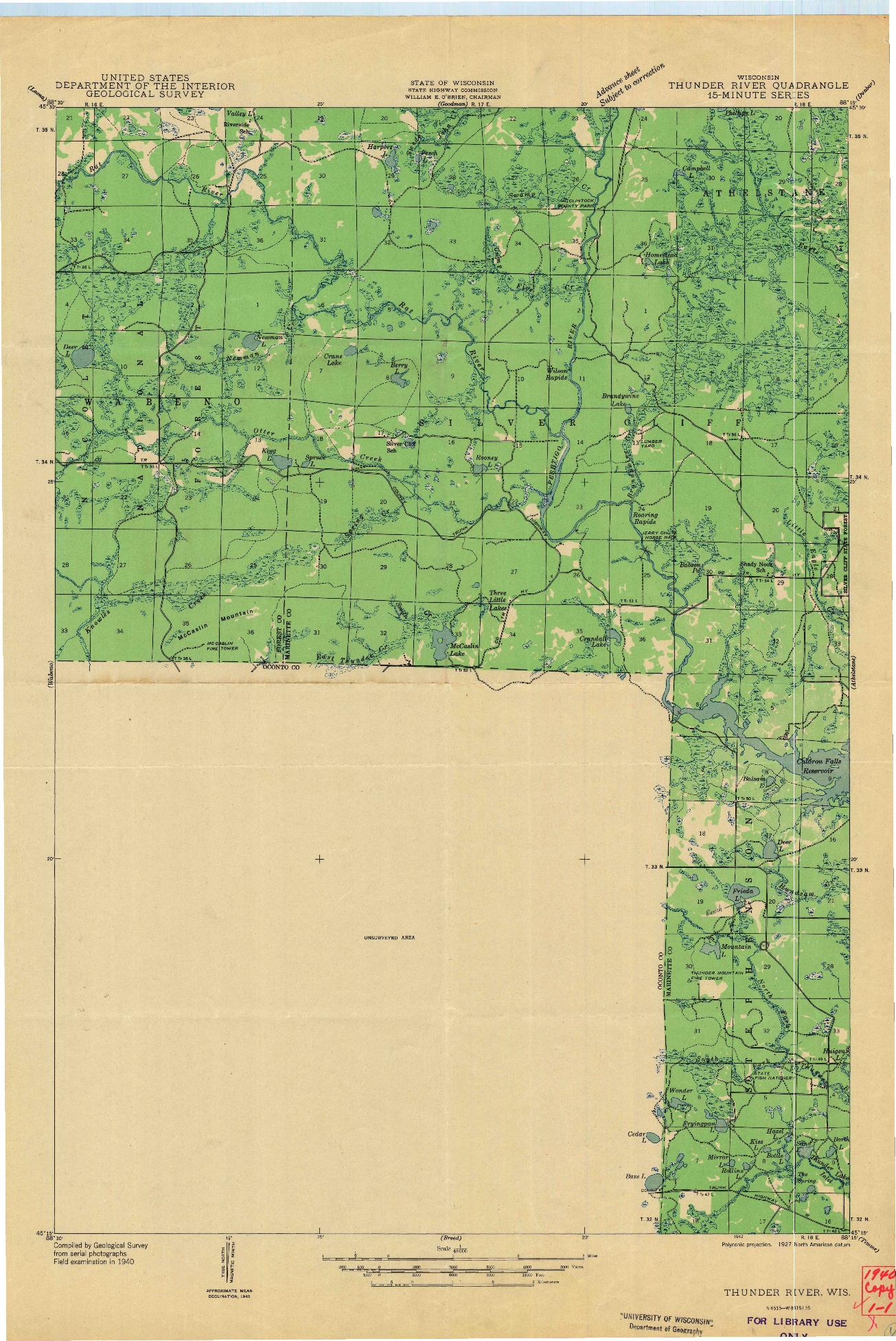 USGS 1:48000-SCALE QUADRANGLE FOR THUNDER RIVER, WI 1940