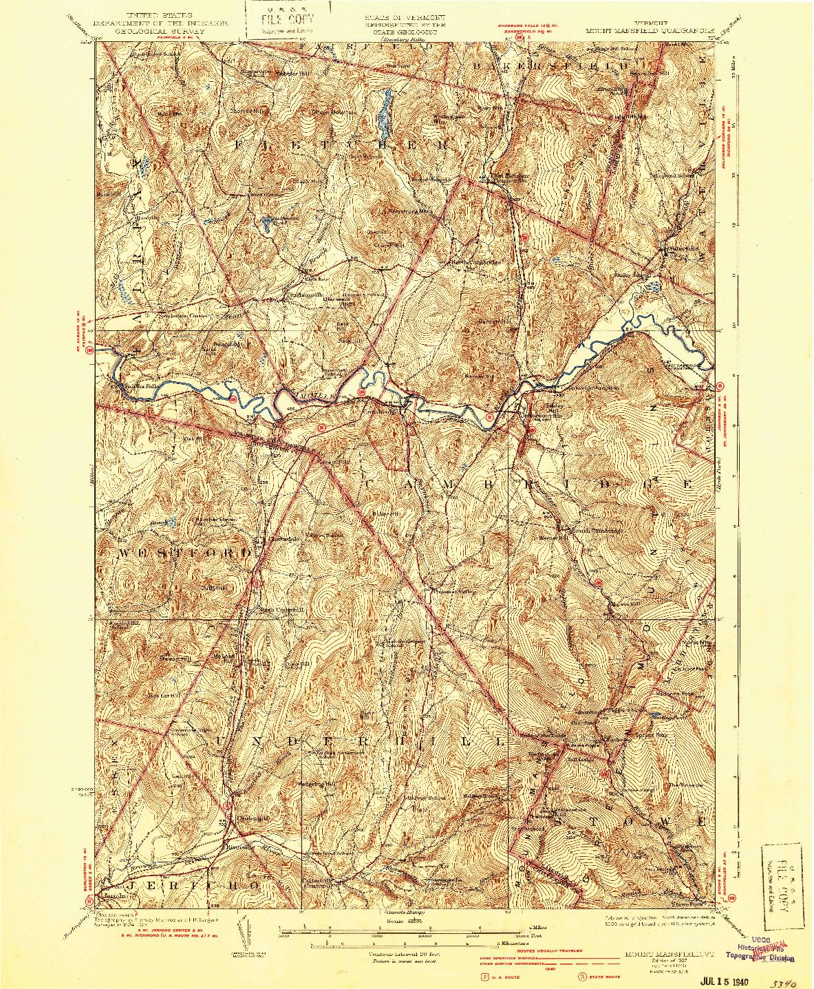 USGS 1:62500-SCALE QUADRANGLE FOR MOUNT MANSFIELD, VT 1927