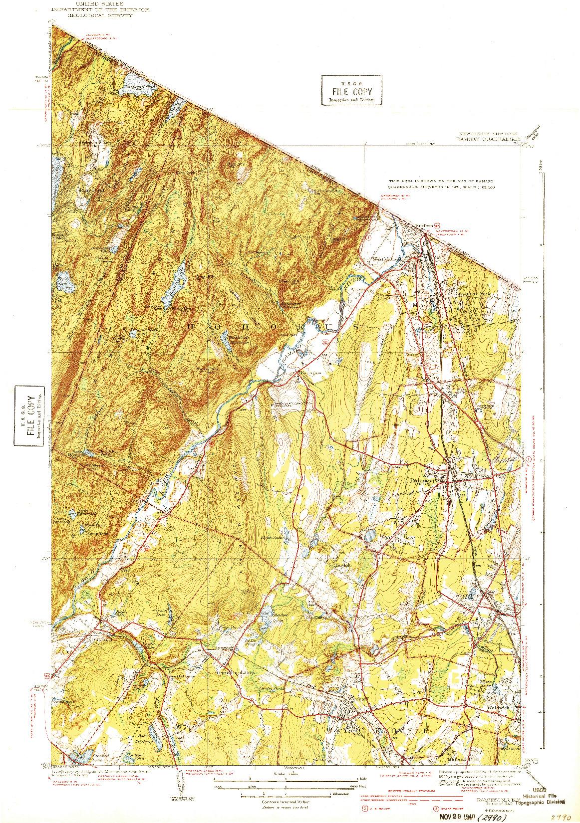 USGS 1:31680-SCALE QUADRANGLE FOR RAMSEY, NJ 1940