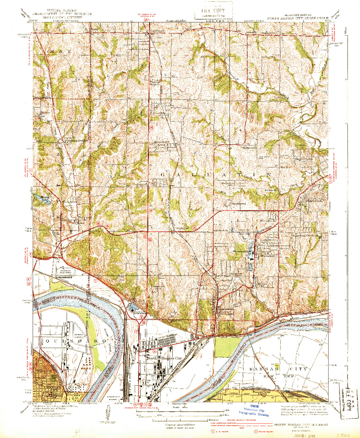 USGS 1:31680-SCALE QUADRANGLE FOR NORTH KANSAS CITY, MO 1940