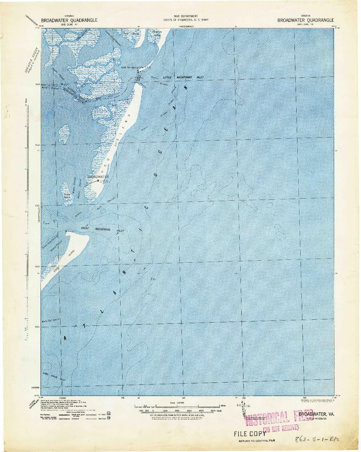 USGS 1:62500-SCALE QUADRANGLE FOR BROADWATER, VA 1941