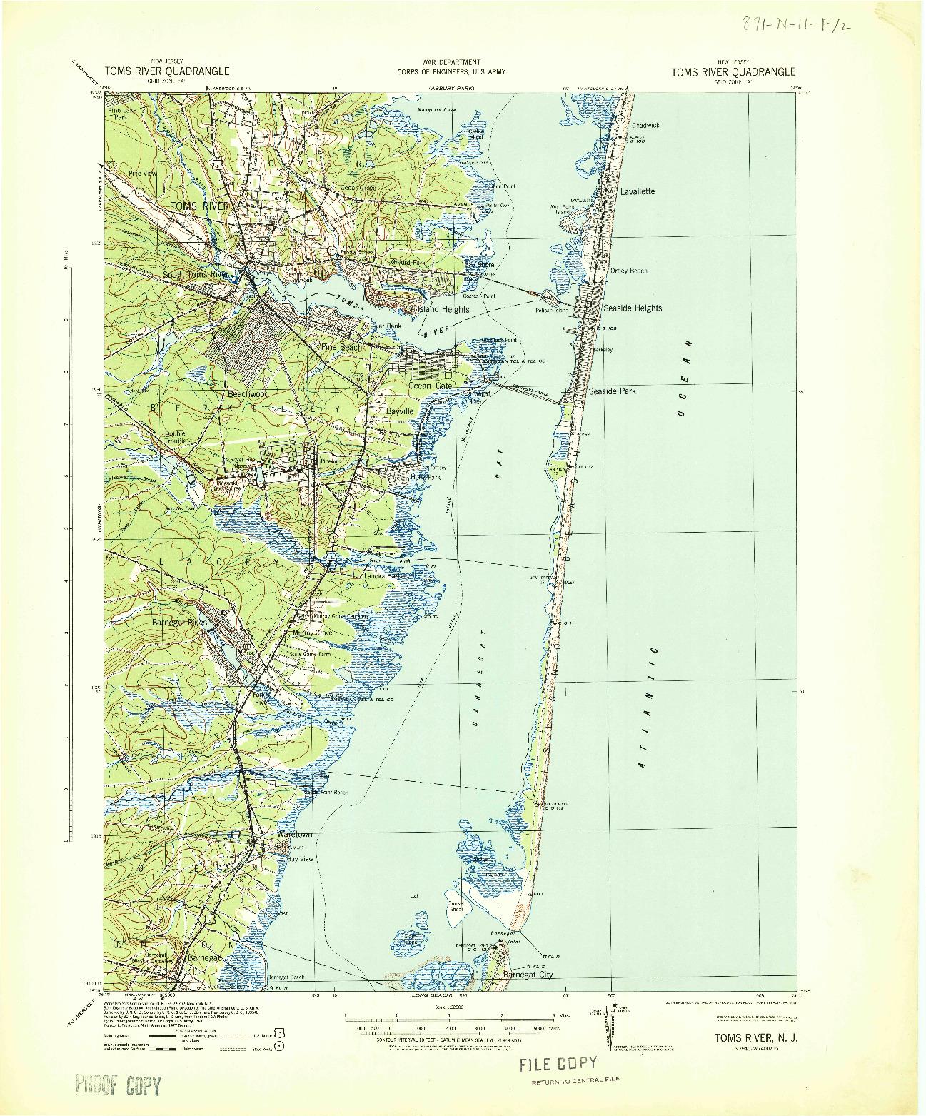 USGS 1:62500-SCALE QUADRANGLE FOR TOMS RIVER, NJ 1941