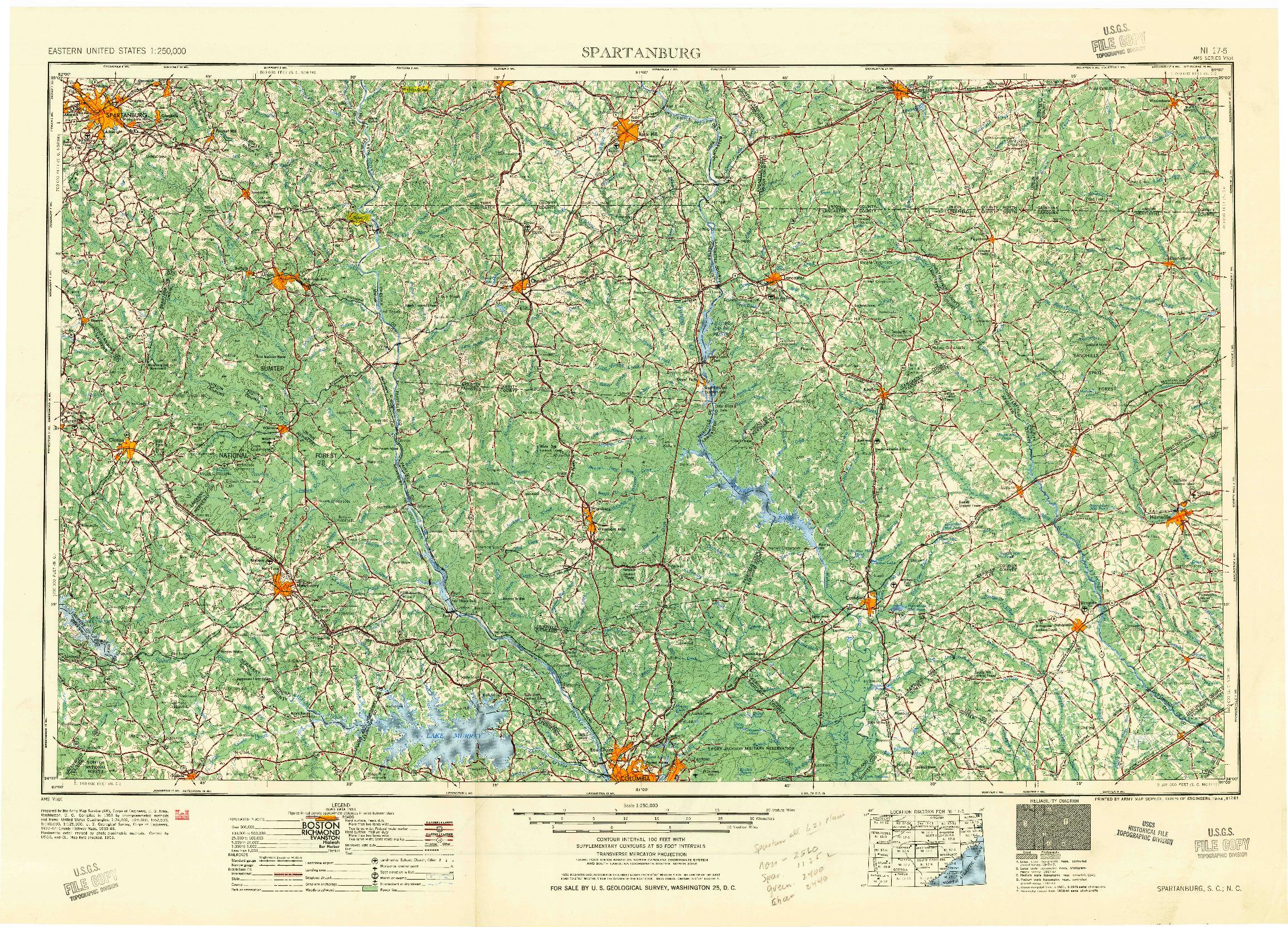 USGS 1:250000-SCALE QUADRANGLE FOR SPARTANBURG, SC 1941