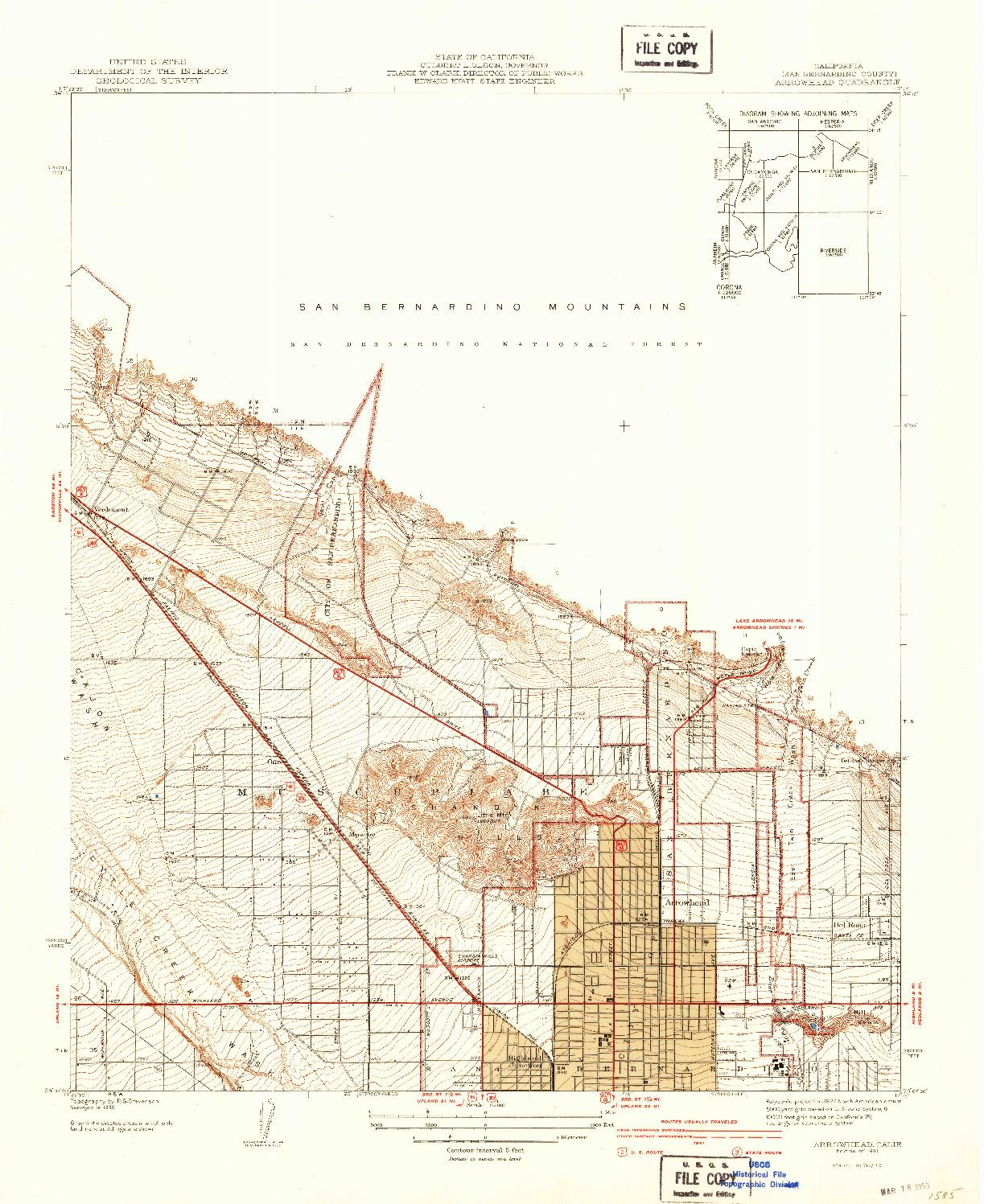USGS 1:31680-SCALE QUADRANGLE FOR ARROWHEAD, CA 1941