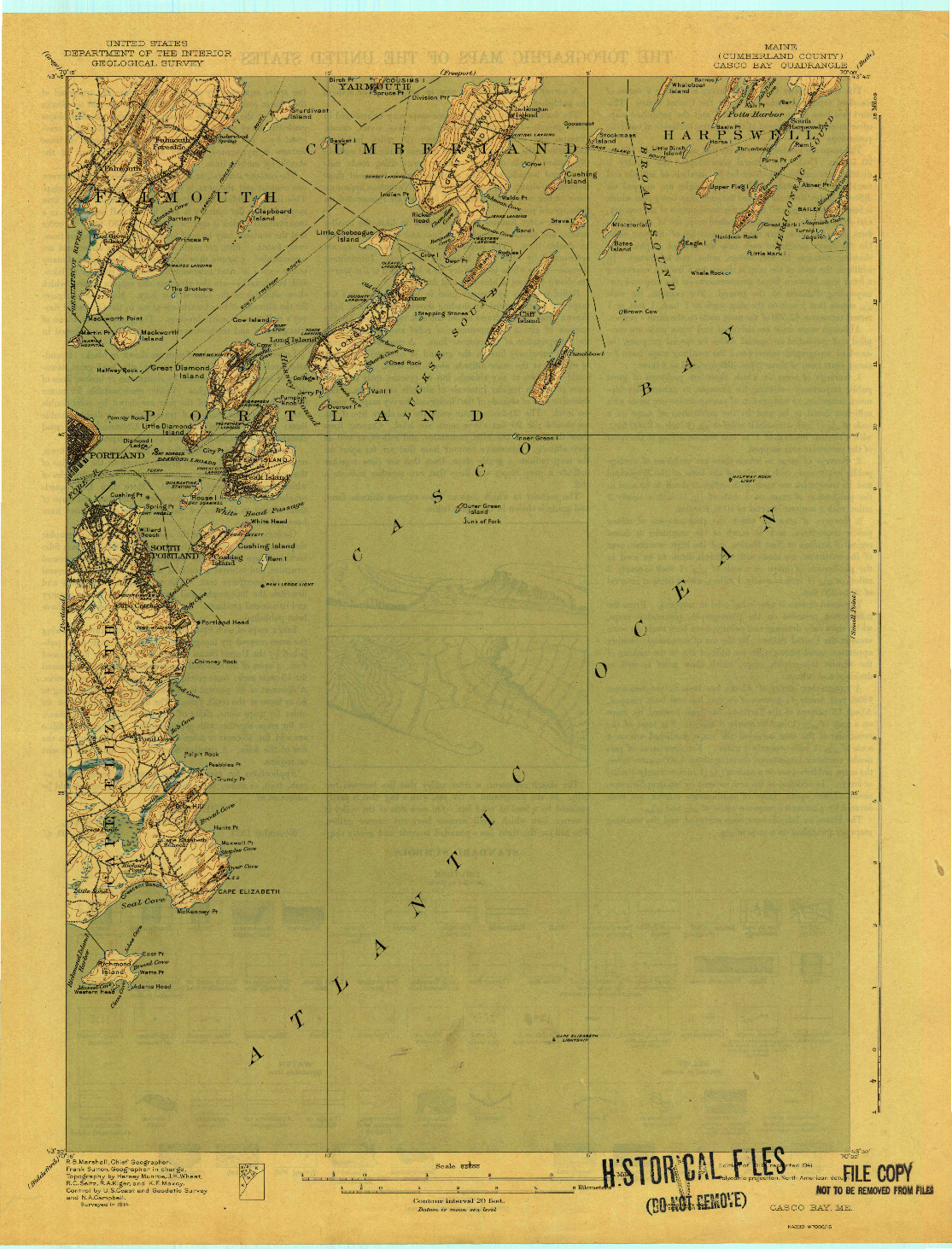 USGS 1:62500-SCALE QUADRANGLE FOR CASCO BAY, ME 1916