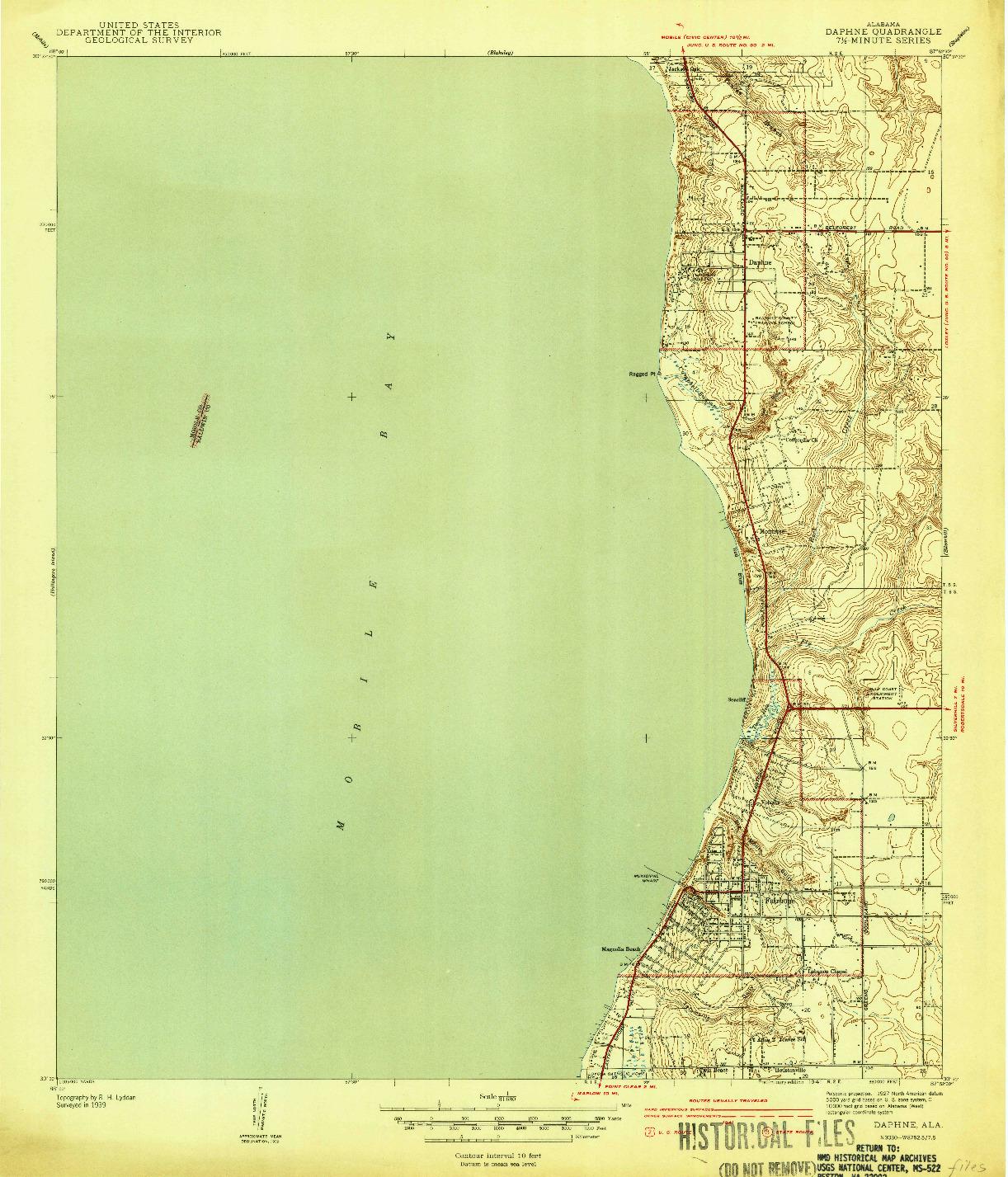 USGS 1:31680-SCALE QUADRANGLE FOR DAPHNE, AL 1941