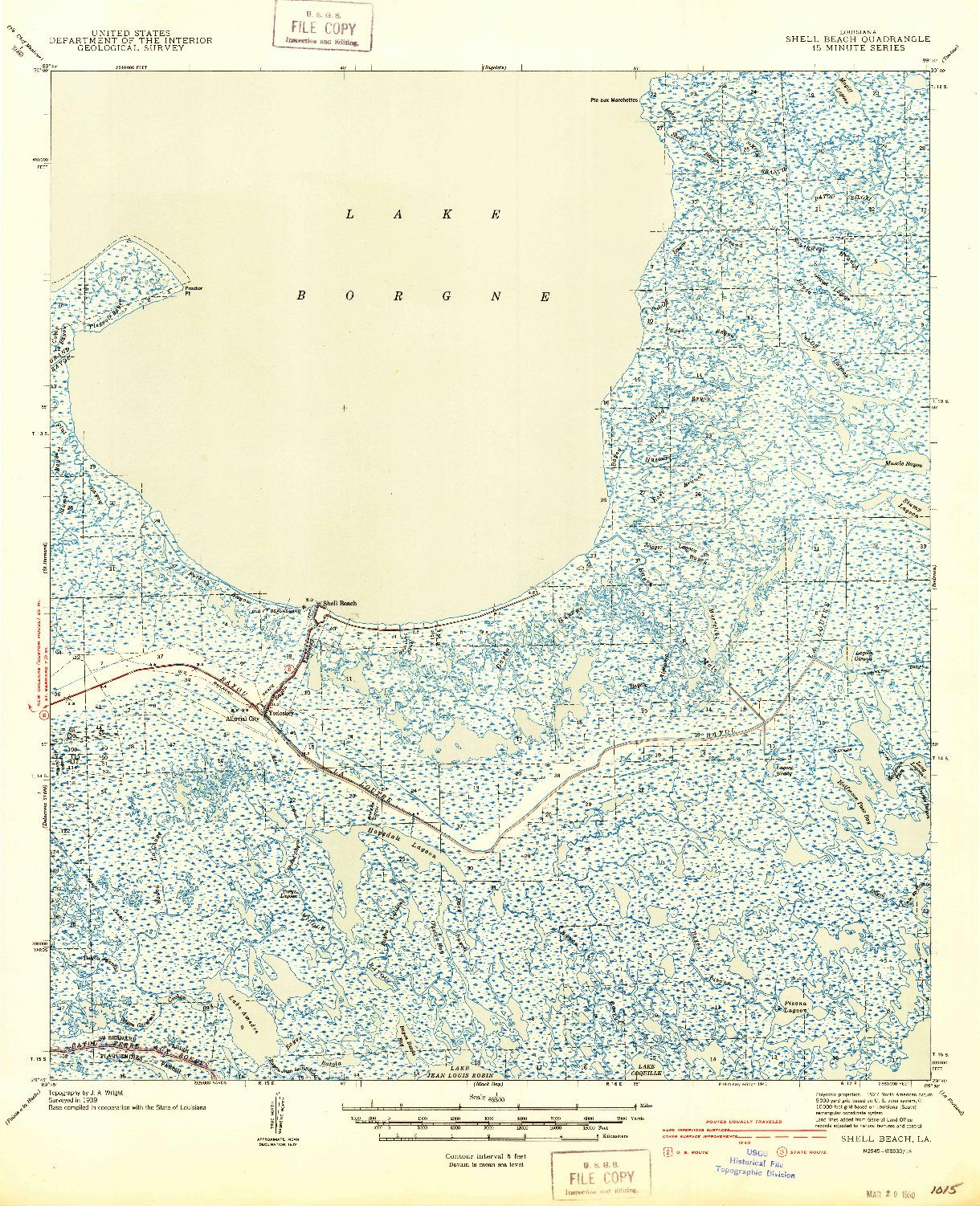 USGS 1:62500-SCALE QUADRANGLE FOR SHELL BEACH, LA 1941
