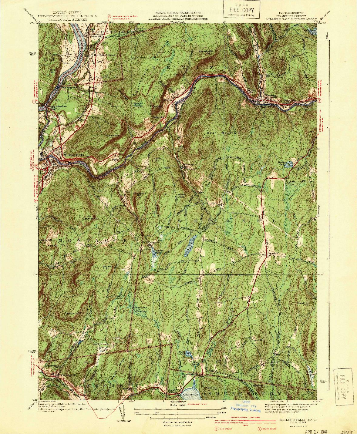 USGS 1:31680-SCALE QUADRANGLE FOR MILLERS FALLS, MA 1941