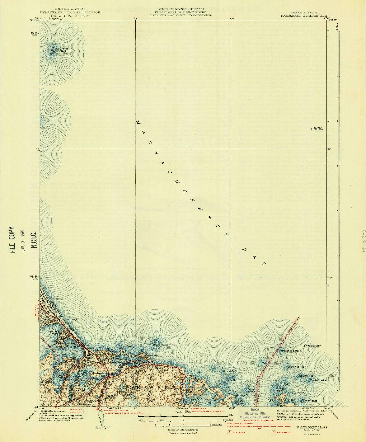USGS 1:31680-SCALE QUADRANGLE FOR NANTASKET, MA 1941