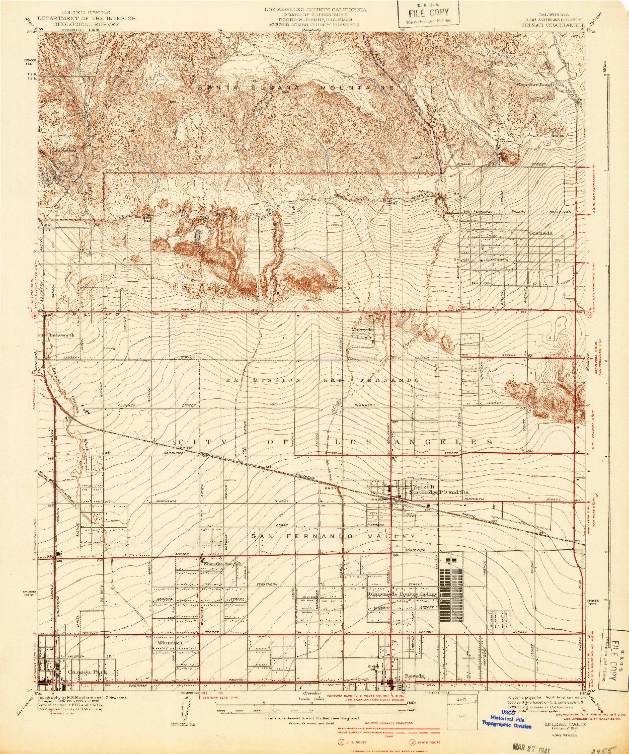 USGS 1:24000-SCALE QUADRANGLE FOR ZELZAH, CA 1941