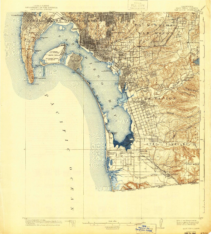 USGS 1:62500-SCALE QUADRANGLE FOR SAN DIEGO, CA 1904