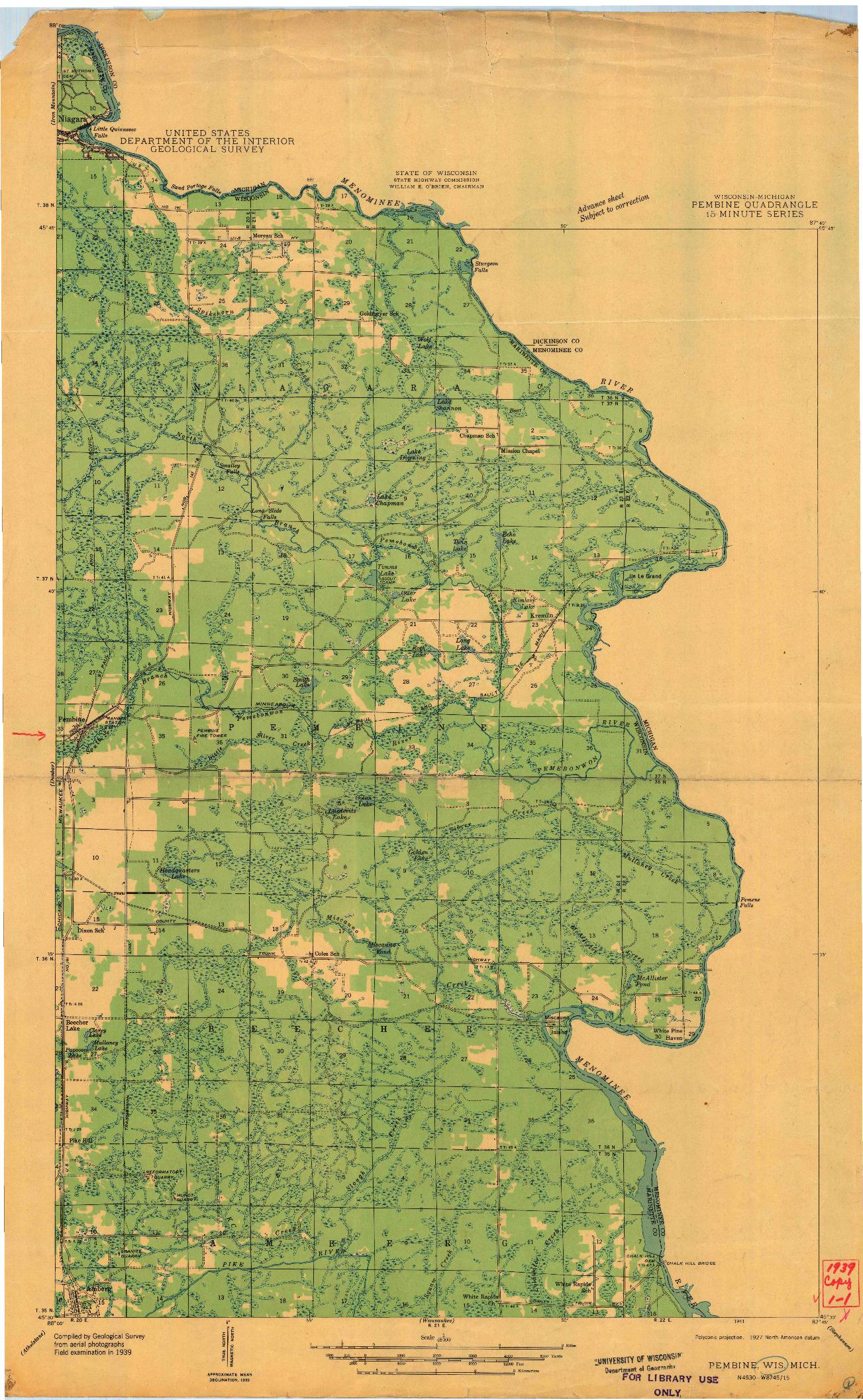USGS 1:48000-SCALE QUADRANGLE FOR PEMBINE, WI 1939
