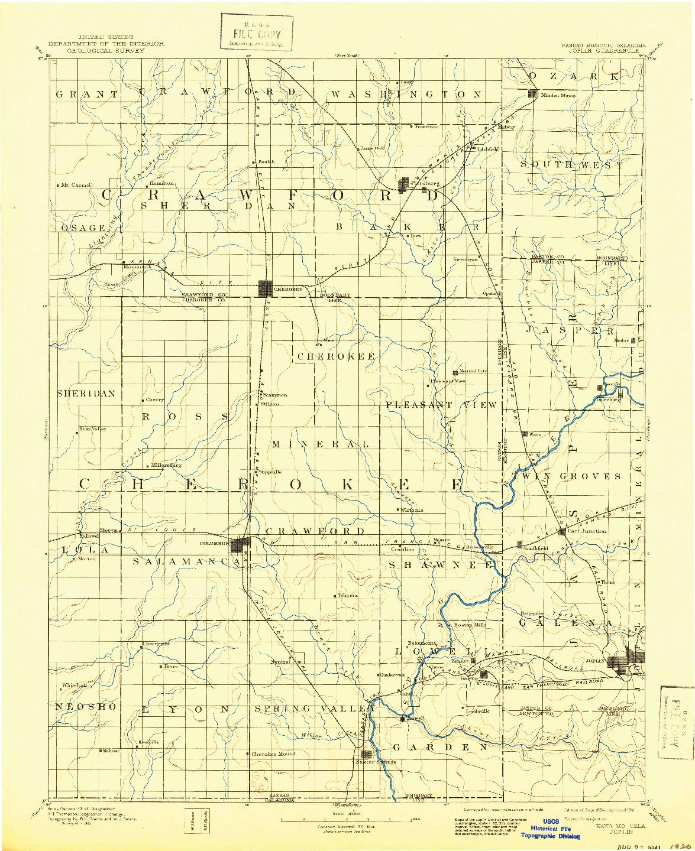 USGS 1:125000-SCALE QUADRANGLE FOR JOPLIN, KS 1894