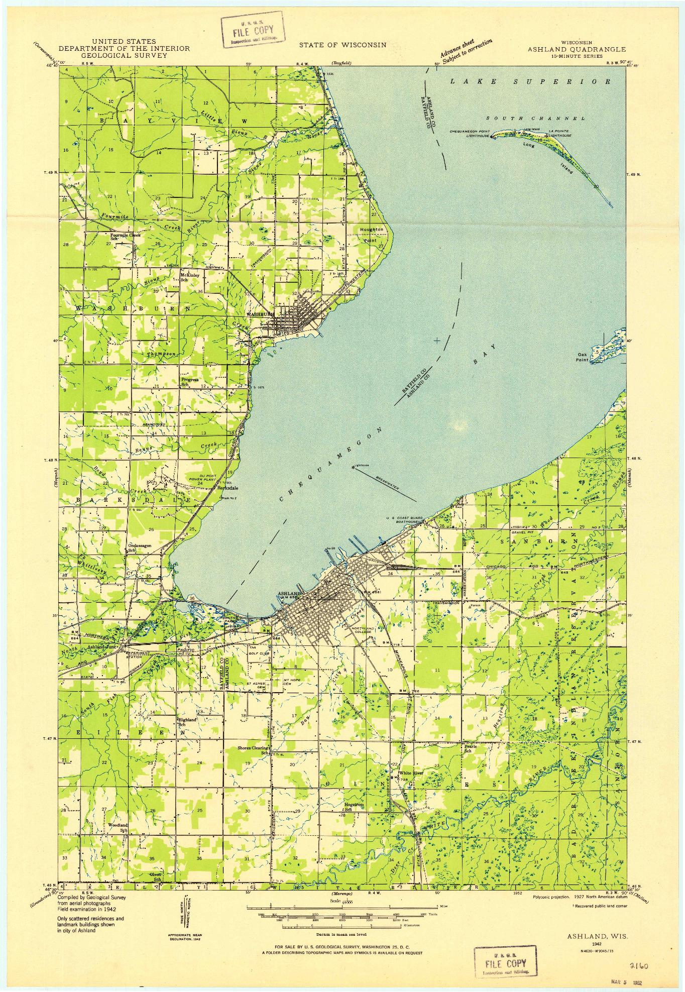 USGS 1:48000-SCALE QUADRANGLE FOR ASHLAND, WI 1942