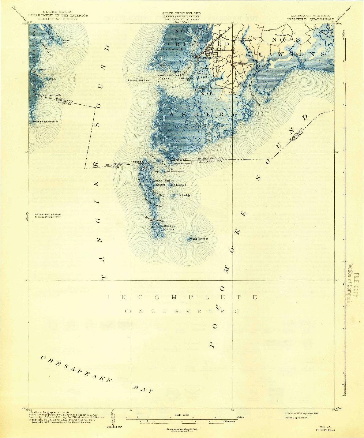 USGS 1:62500-SCALE QUADRANGLE FOR CRISFIELD, MD 1903