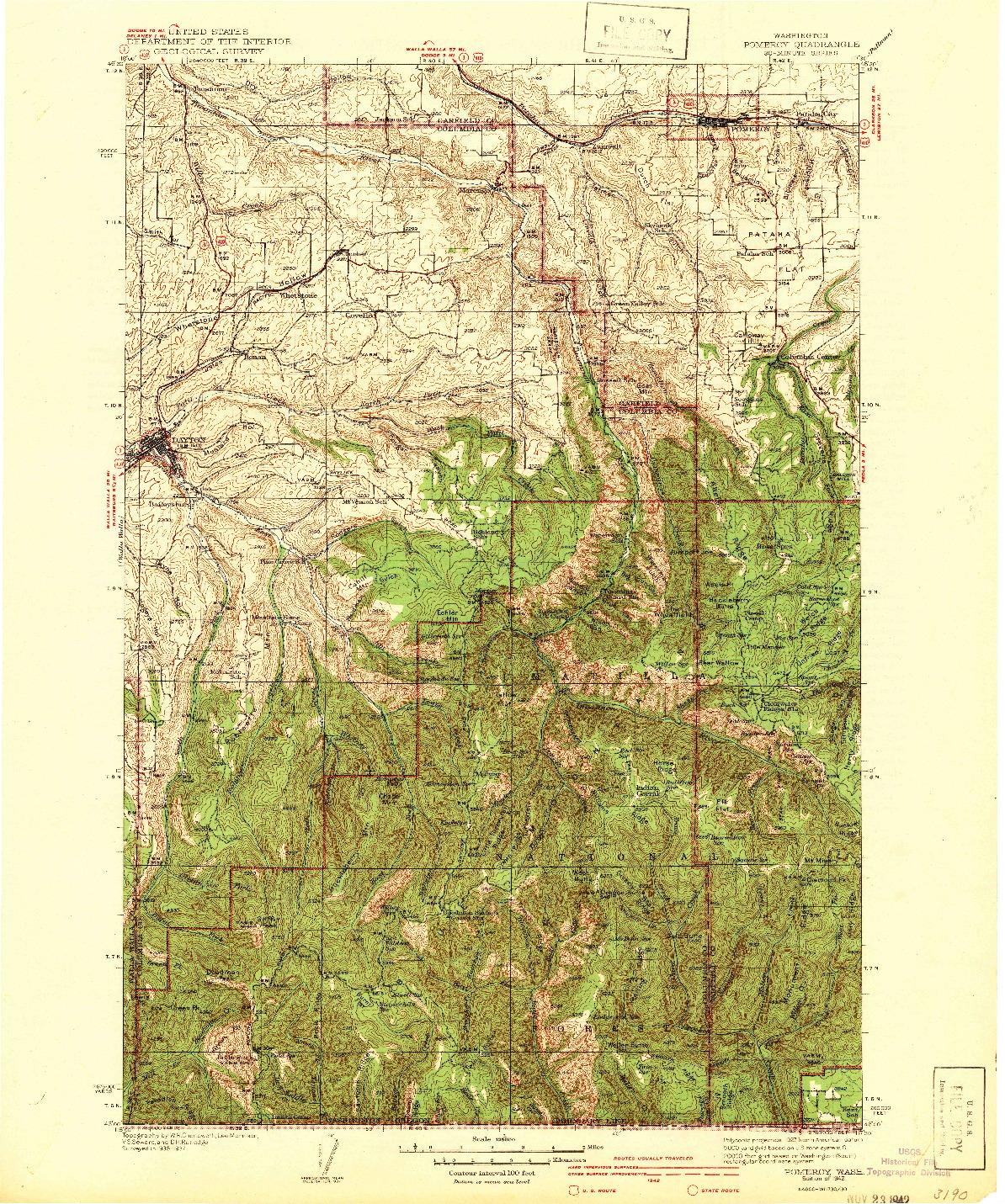 USGS 1:125000-SCALE QUADRANGLE FOR POMEROY, WA 1942