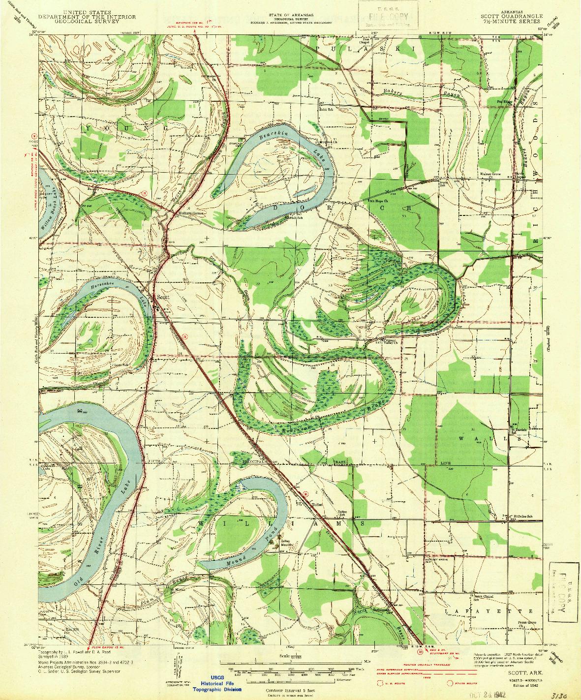 USGS 1:31680-SCALE QUADRANGLE FOR SCOTT, AR 1942