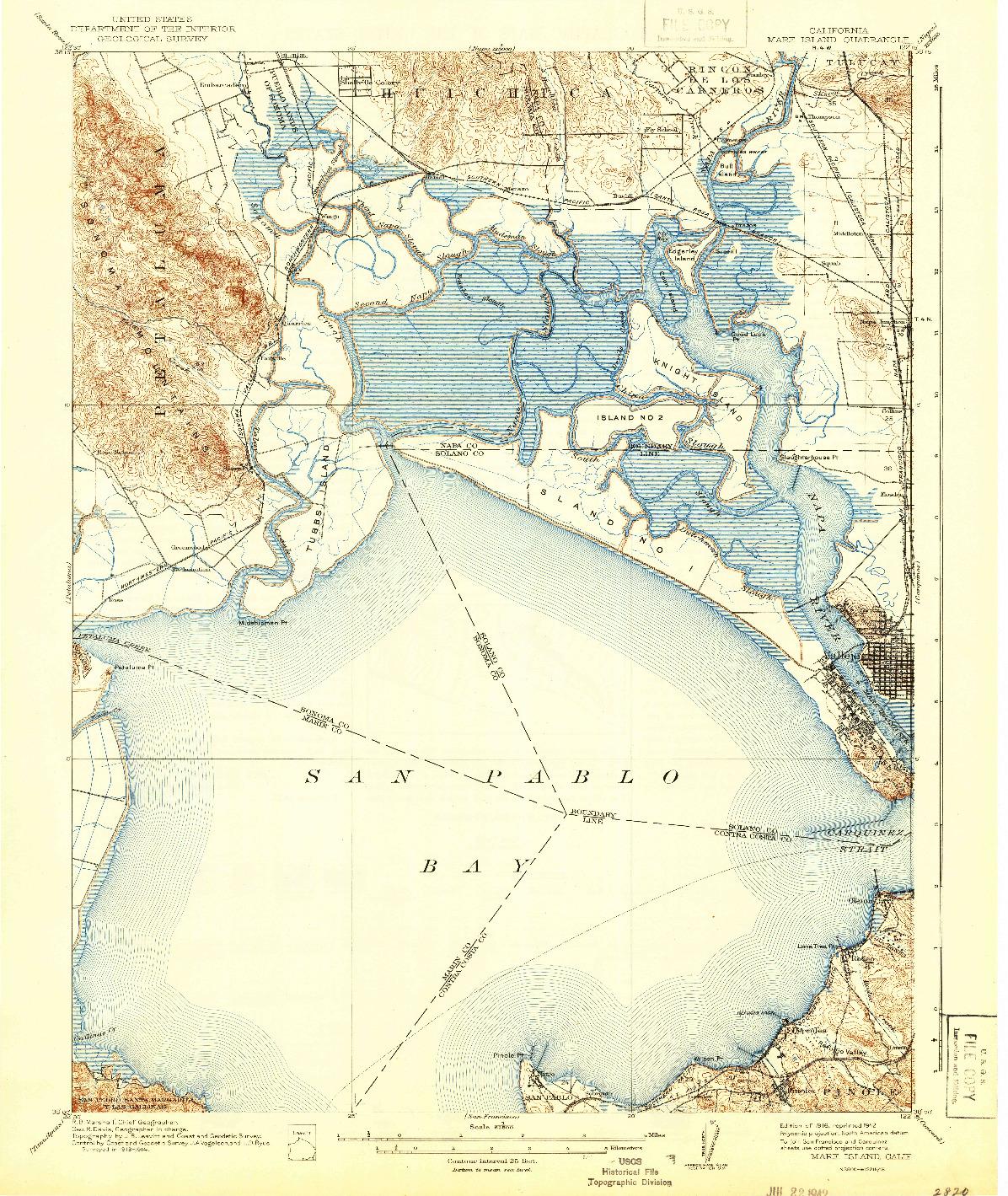 USGS 1:62500-SCALE QUADRANGLE FOR MARE ISLAND, CA 1916