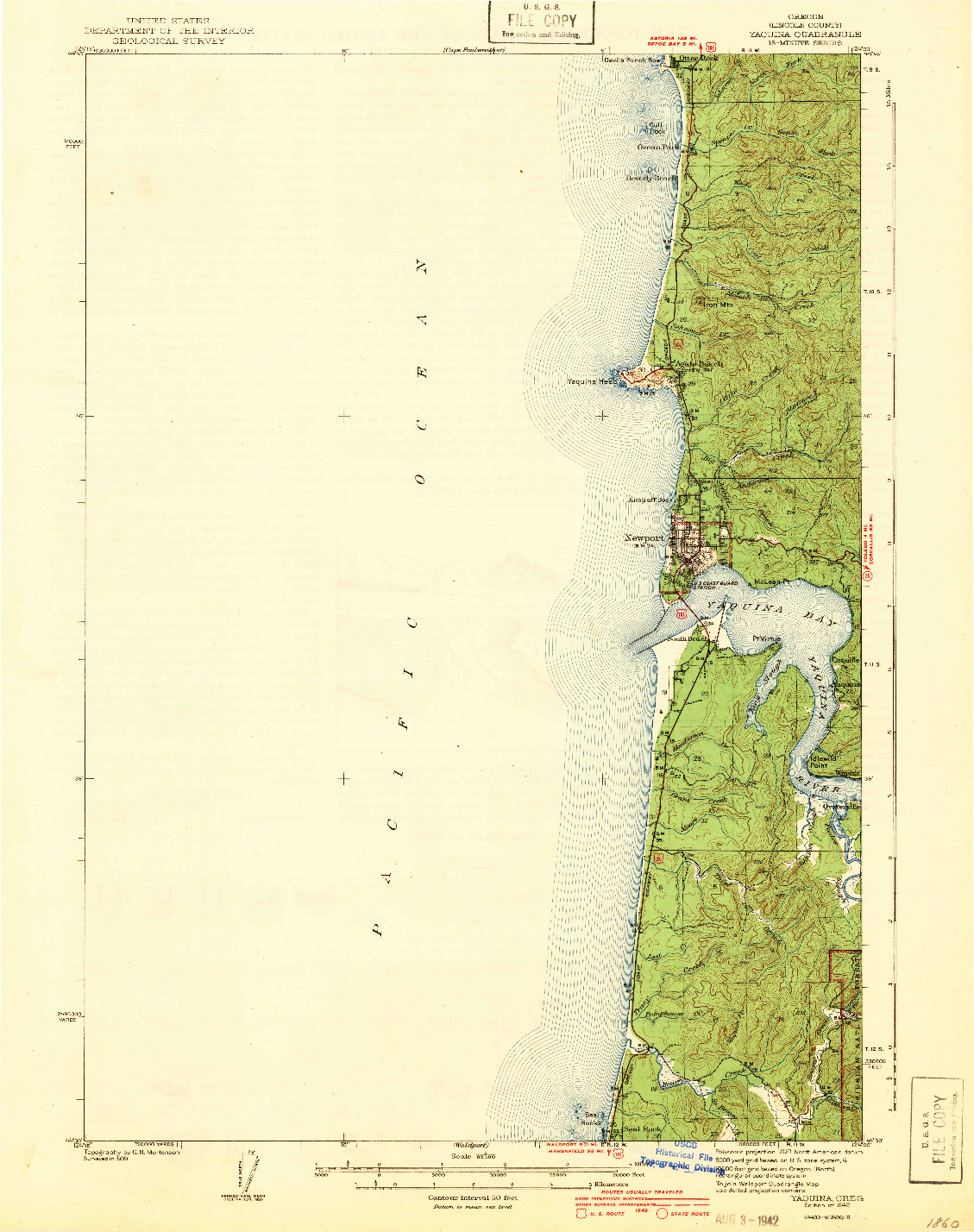 USGS 1:62500-SCALE QUADRANGLE FOR YAQUINA, OR 1942