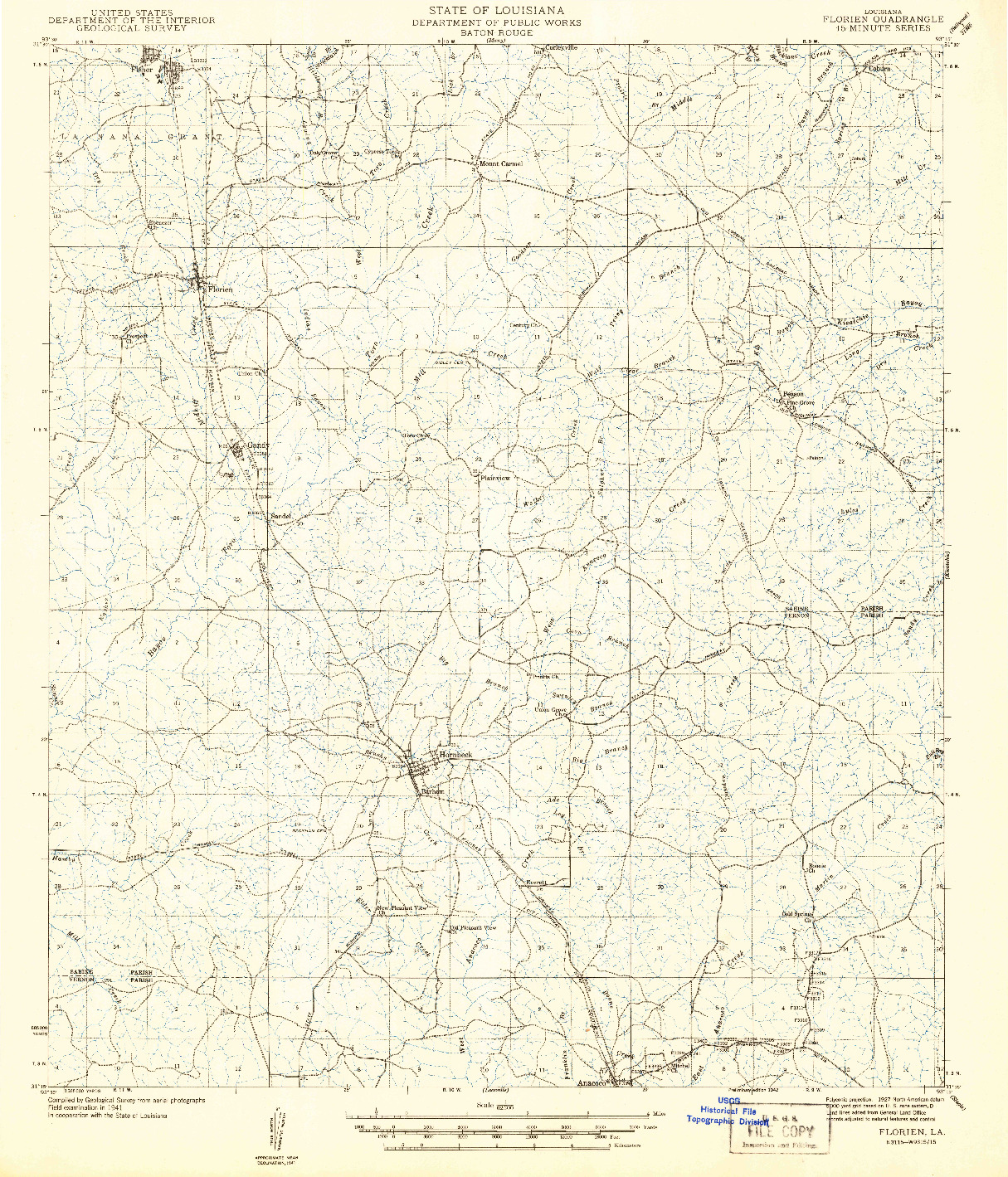 USGS 1:62500-SCALE QUADRANGLE FOR FLORIEN, LA 1942