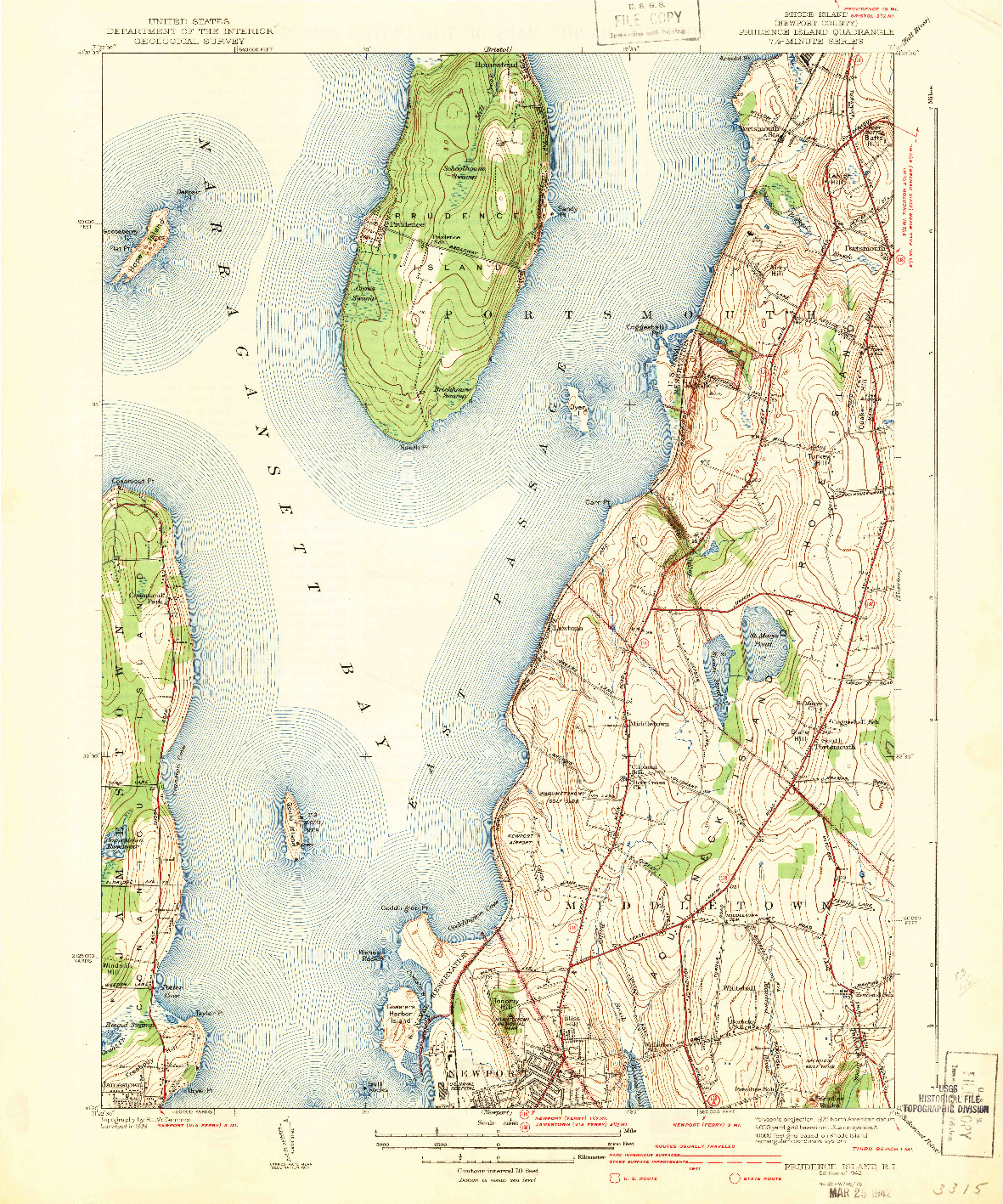 USGS 1:31680-SCALE QUADRANGLE FOR PRUDENCE ISLAND, RI 1942