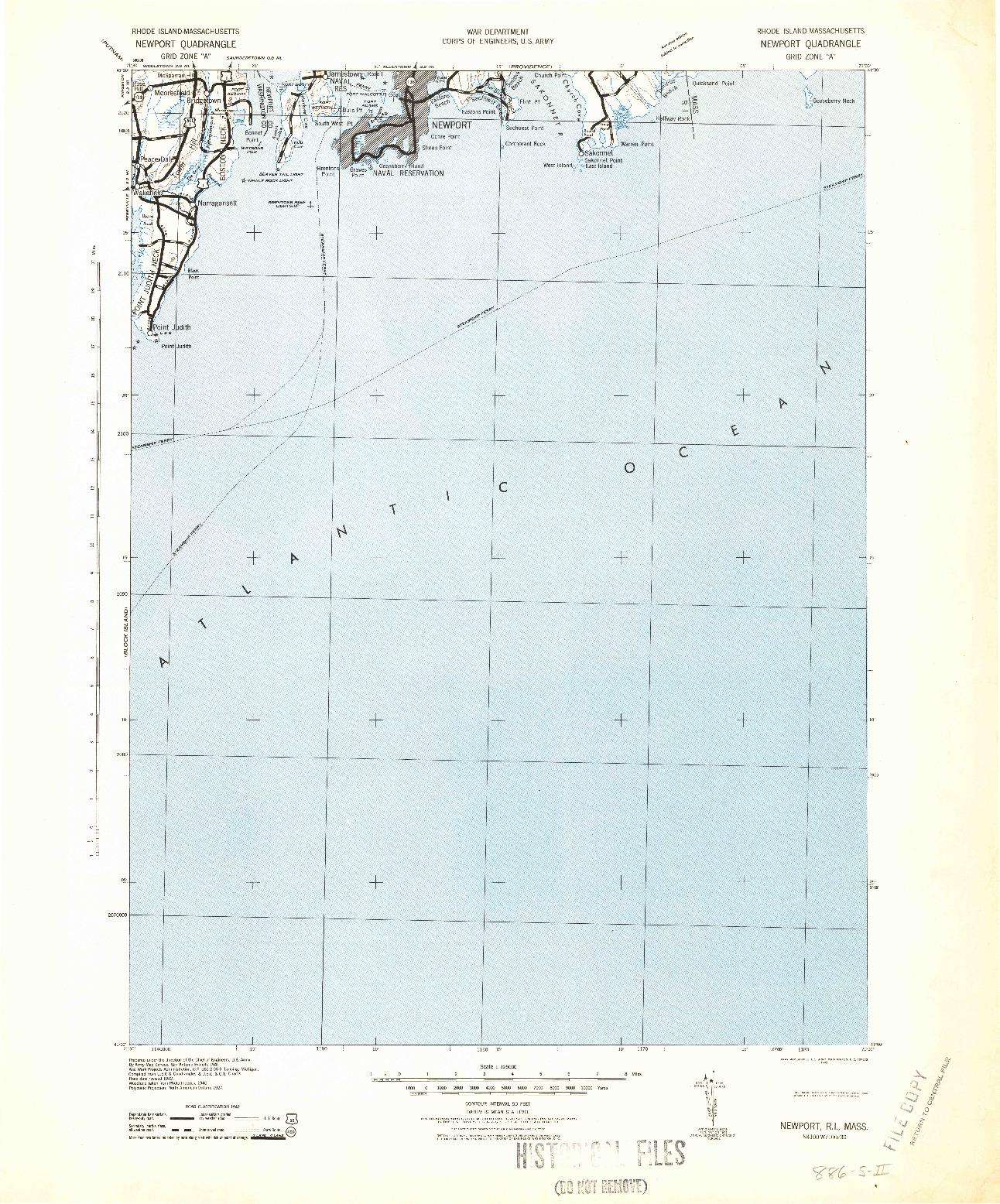 USGS 1:125000-SCALE QUADRANGLE FOR NEWPORT, RI 1942