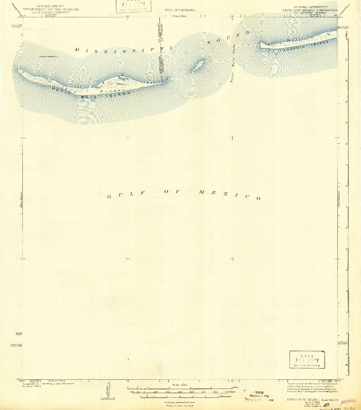 USGS 1:62500-SCALE QUADRANGLE FOR PETIT BOIS ISLAND, AL 1942